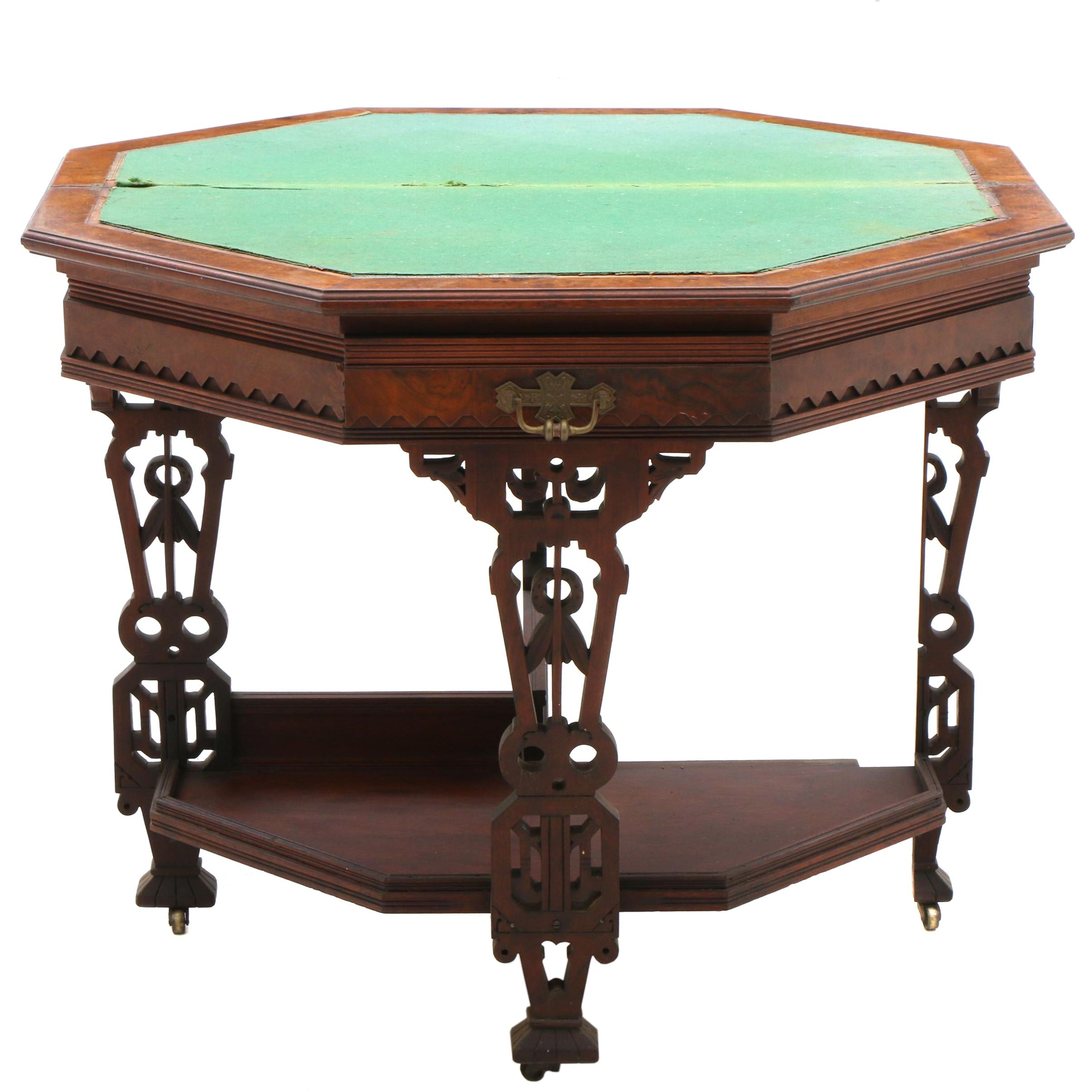 Eastlake Burl Walnut Card Table