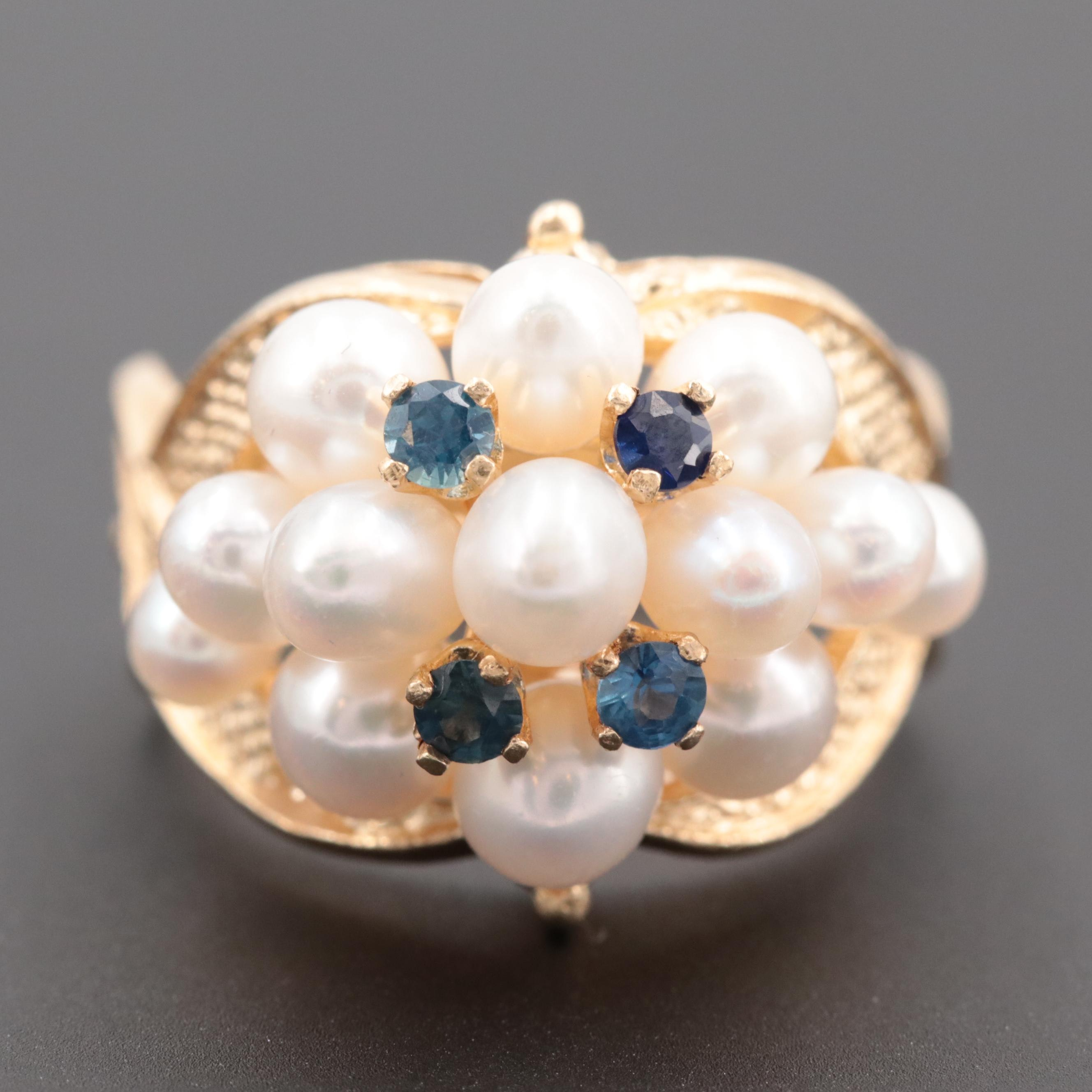 Vintage 14K Yellow Gold Blue Sapphire and Cultured Pearl Bombé Ring