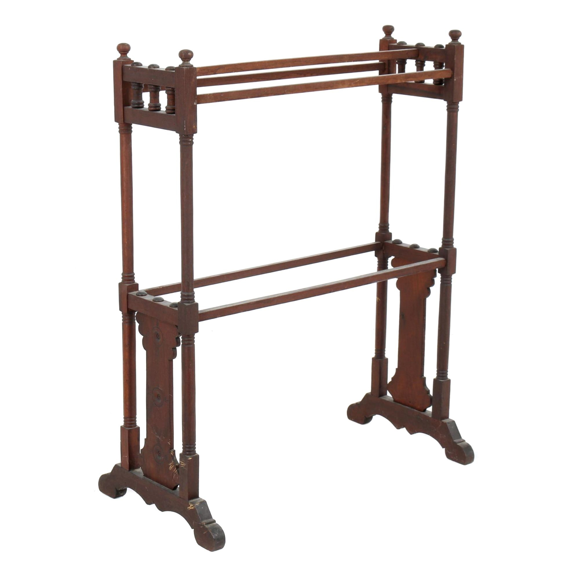 Eastlake Victorian Walnut Quilt Rack, Late 19th Century