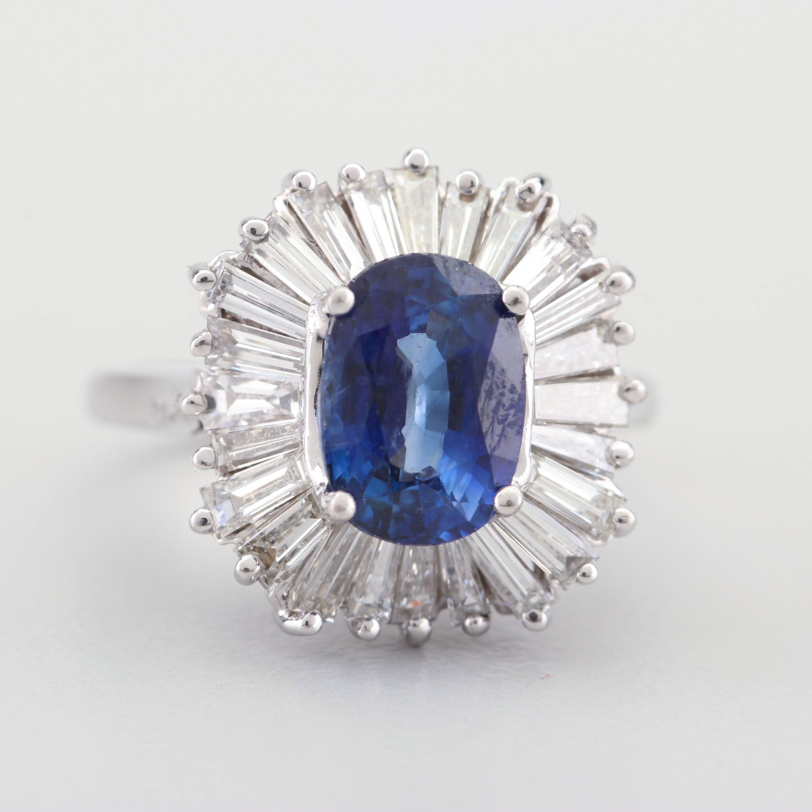 14K White Gold 2.10 CT Sapphire and 1.65 CTW Diamond Ring with GIA Report