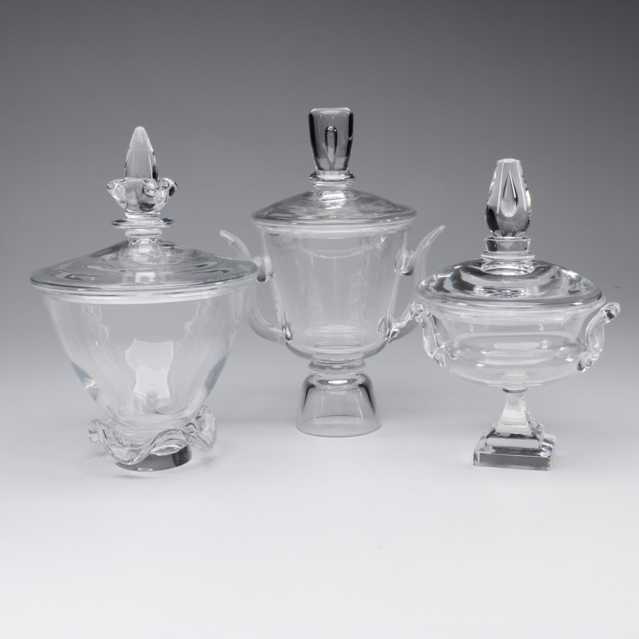 Steuben Art Glass Covered Jars, Mid/Late 20th Century