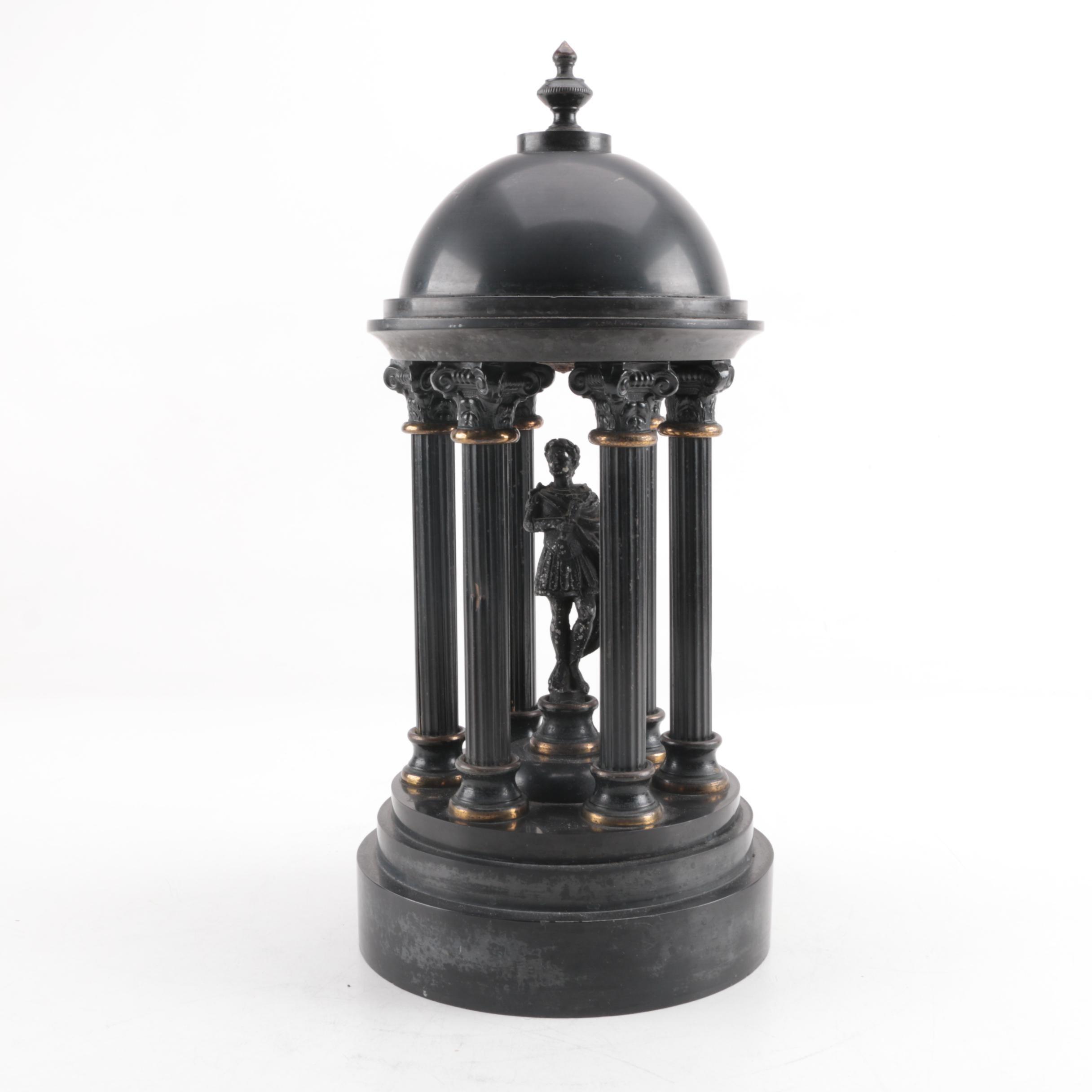 Neoclassical Style Rotunda with Roman Soldier Metal Figurine