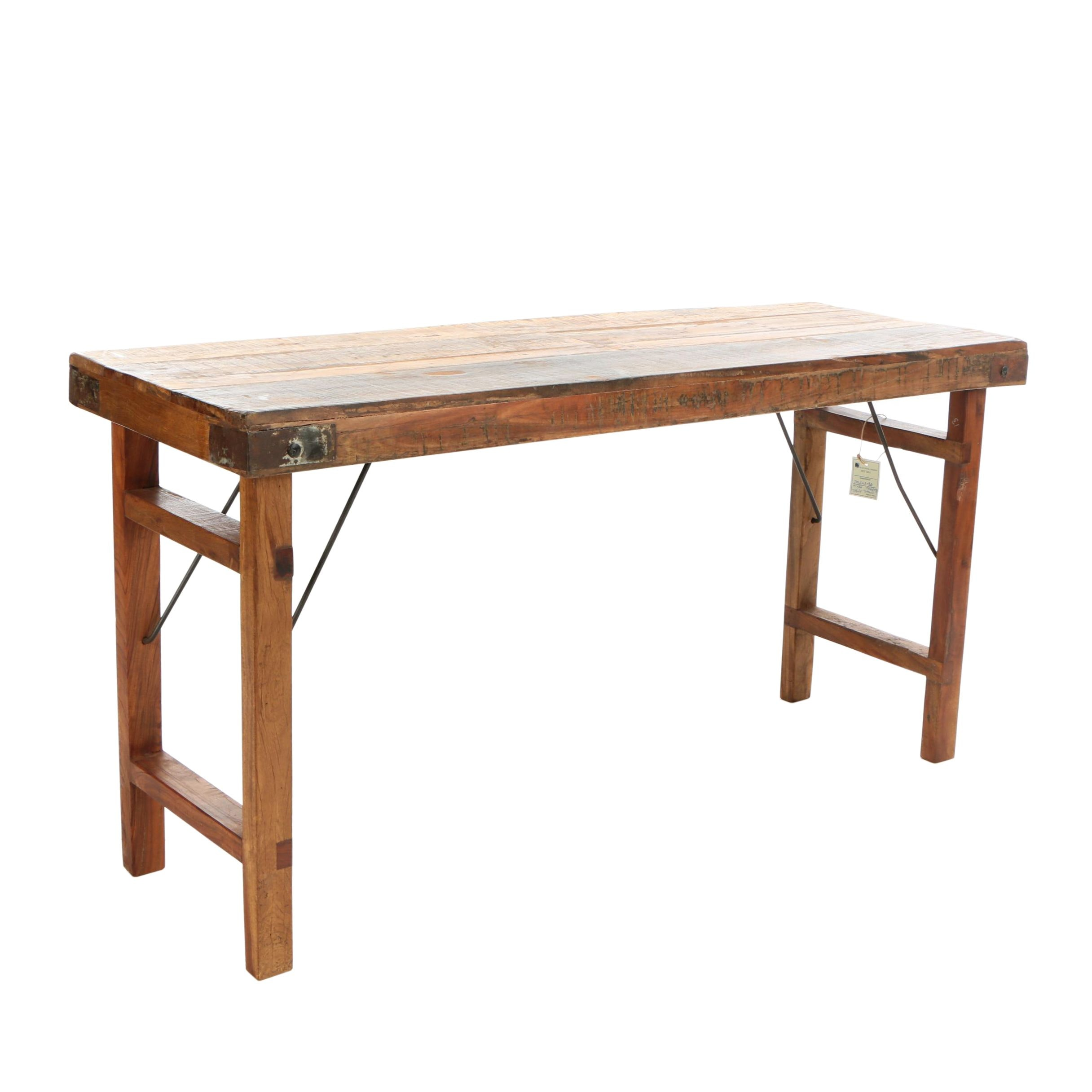 Industrial Style Indian Hardwood Folding Banquet Table, 20th Century