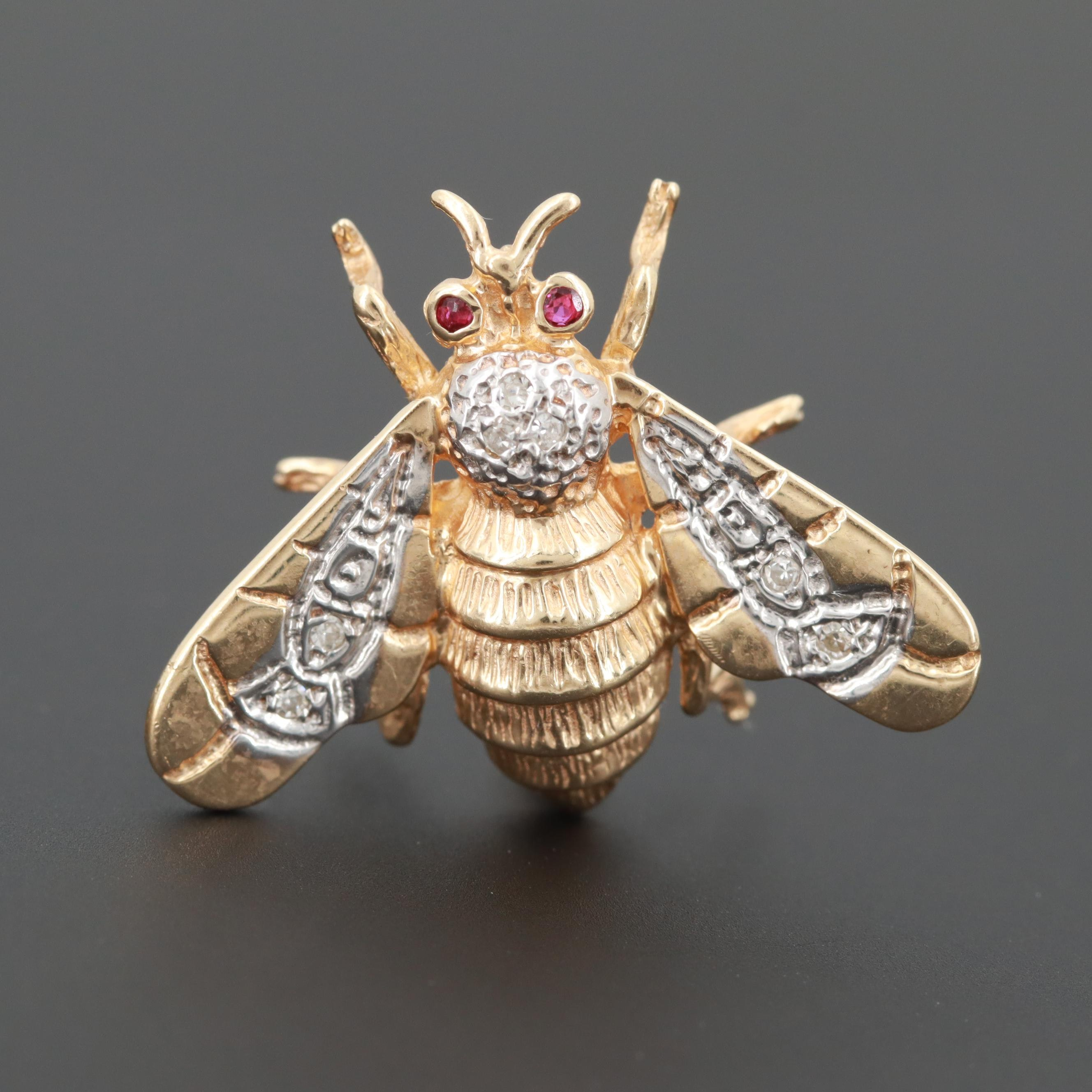 14K Yellow Gold Diamond and Ruby Bee Brooch with White Gold Accents