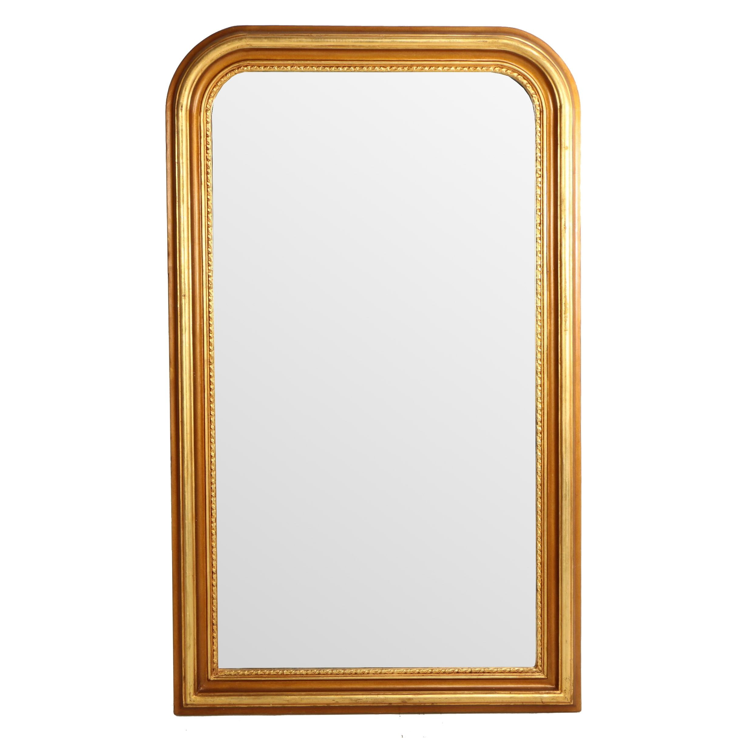 """French Provincial Style """"Louis Phillipe"""" Giltwood Beveled Wall Mirror"""