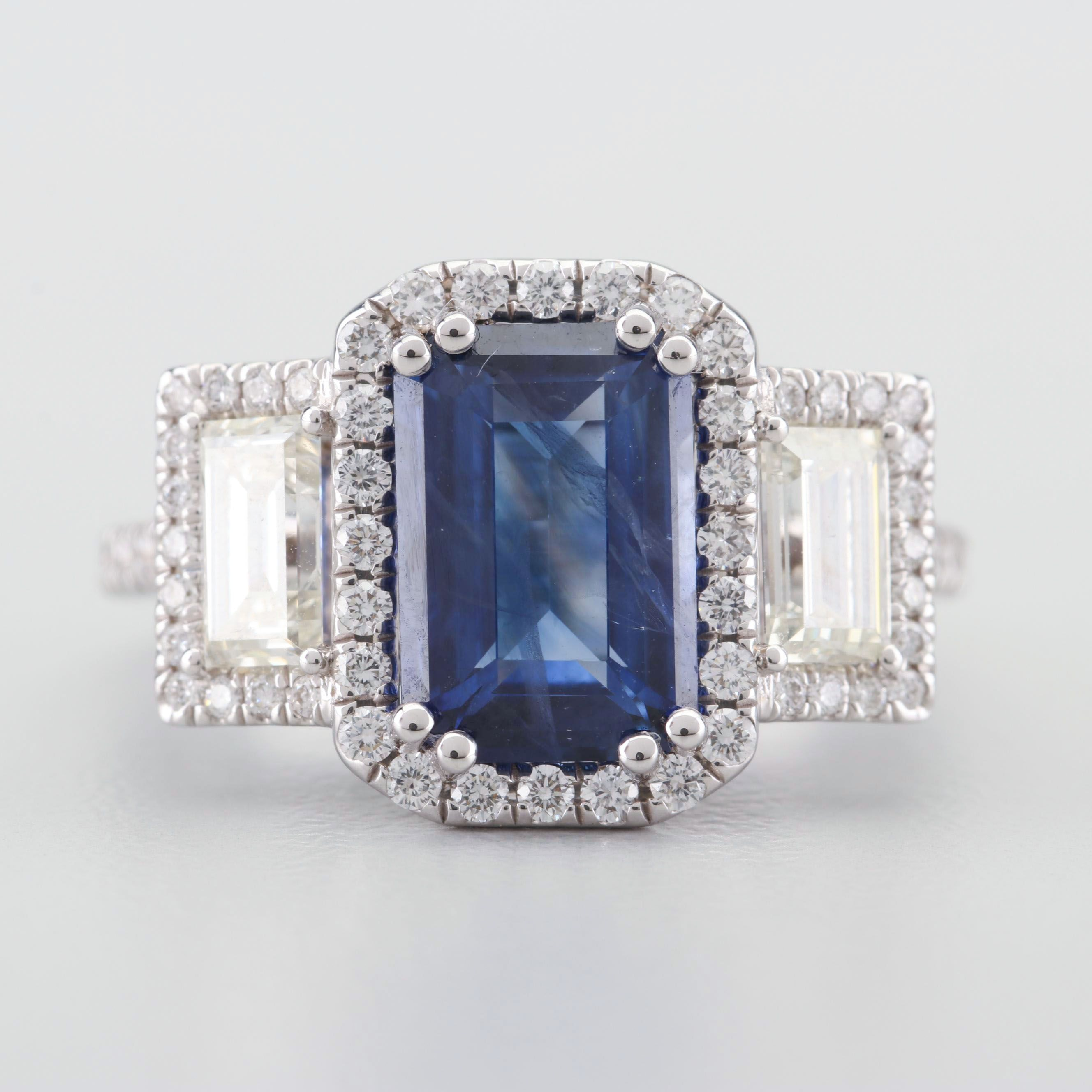 18K White Gold 3.18 CT Sapphire and 1.90 CTW Diamond Ring with AGL Certificate