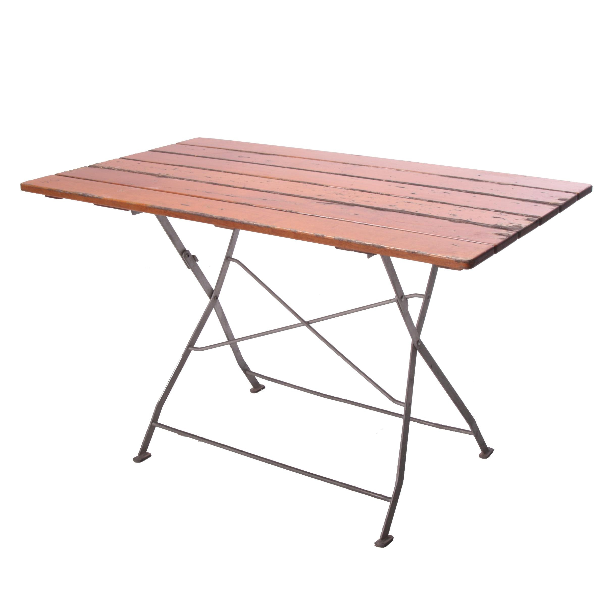 Teak and Metal Folding Beirgarten Table, Late 20th Century