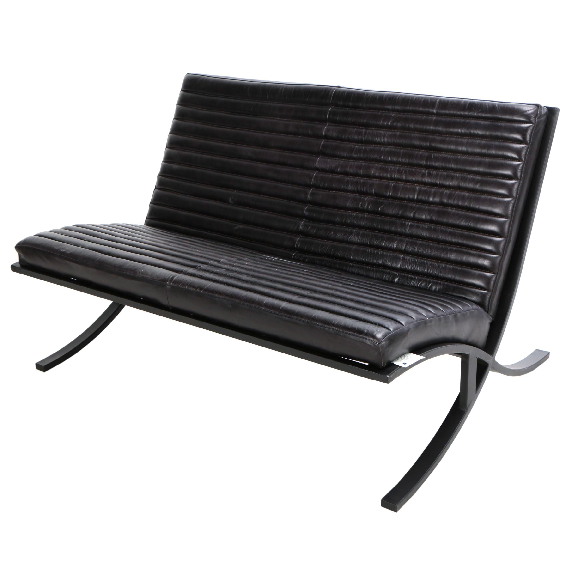 """Bauhaus Style """"Soho"""" Channel Tufted Leather Love Seat"""