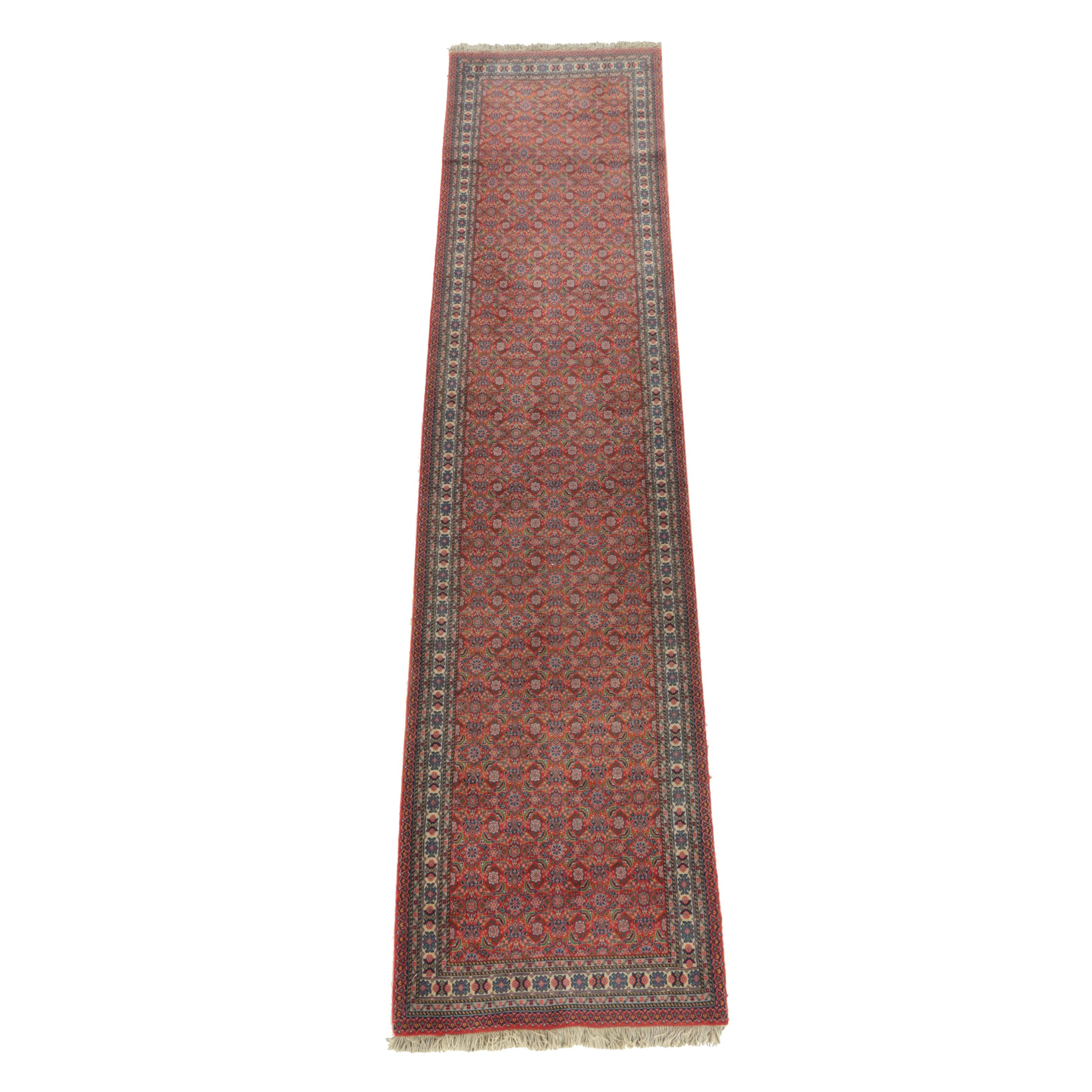 Hand-Knotted Persian Tabriz Wool Carpet Runner, 1960s