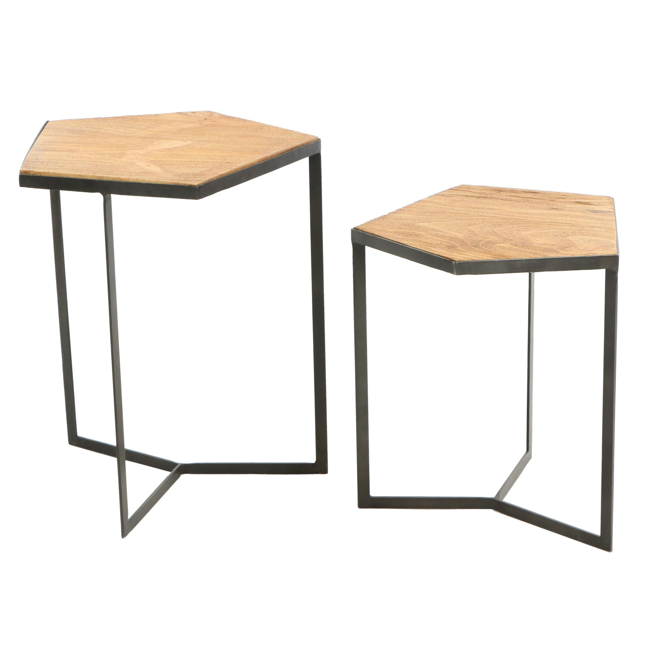 Modern Elm and Metal Pentagon Nesting Tables