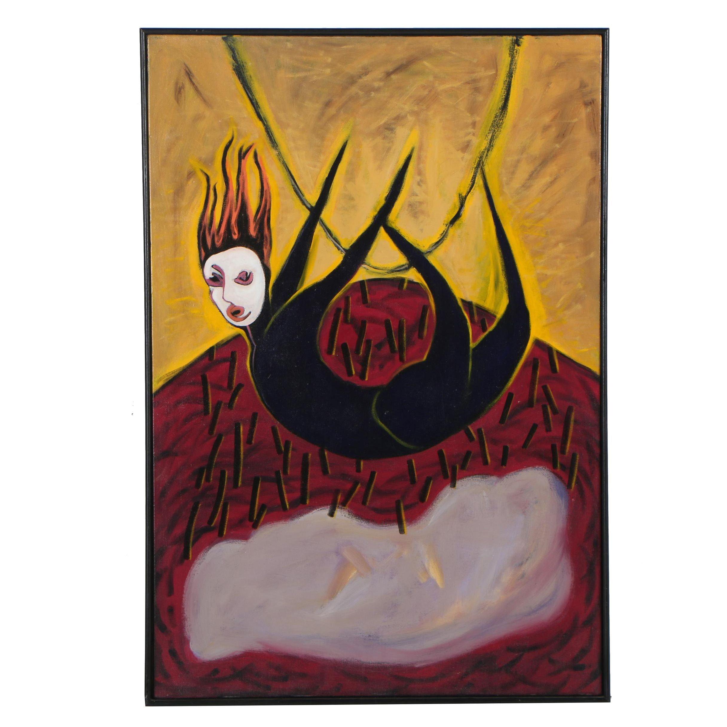 "Merle Rosen 1991 Acrylic Painting ""Tightrope Fall"""