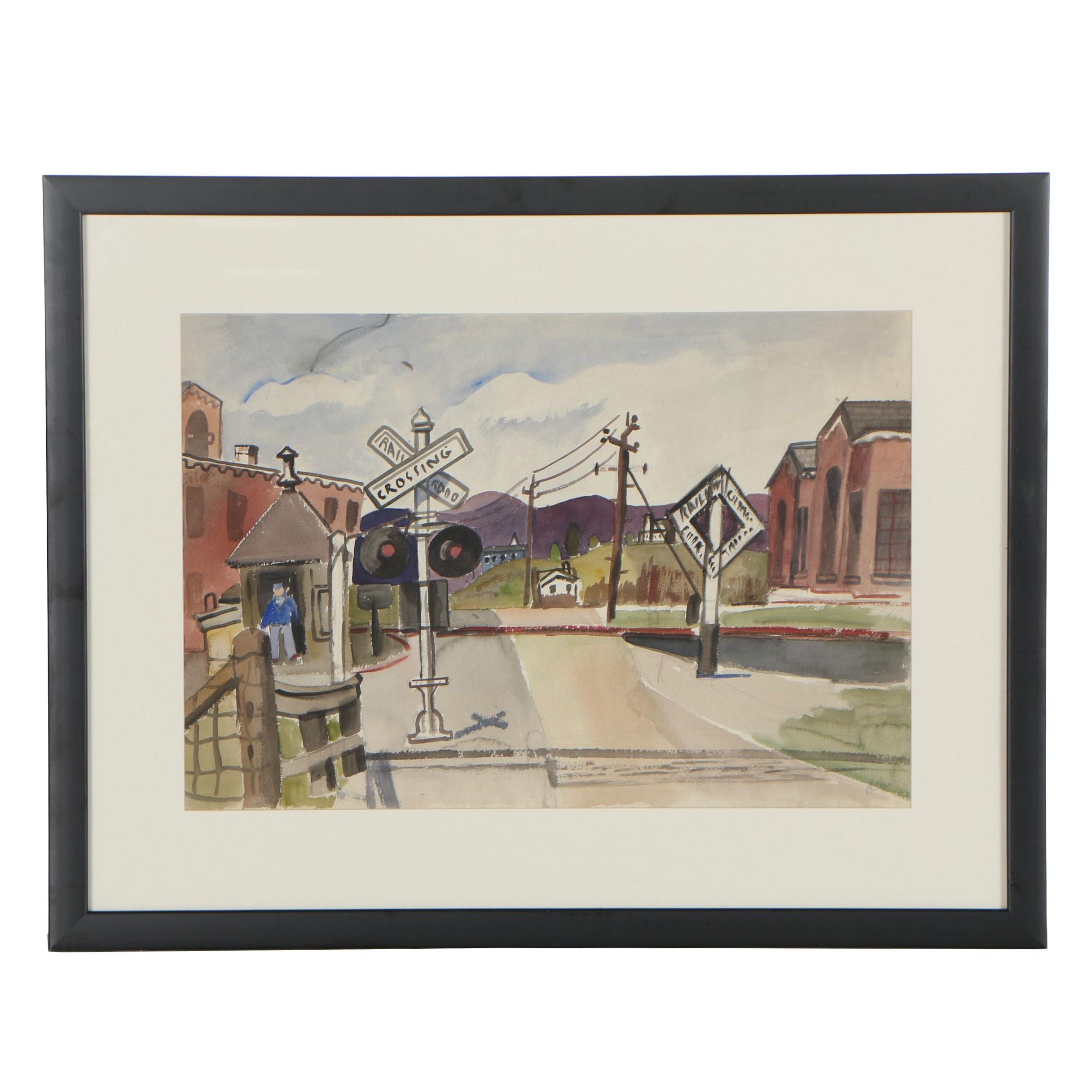Esther Phillips 1940s Watercolor Painting of Wingdale, New York Street Scene