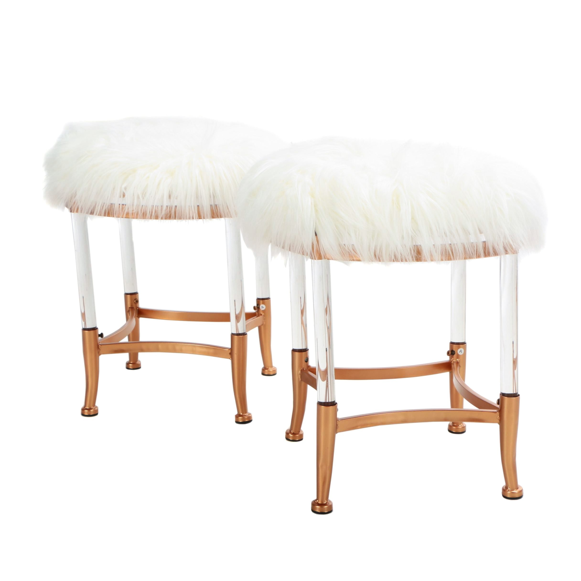 """Pair of """"Chantilly"""" Faux Fur Upholstered Stools"""