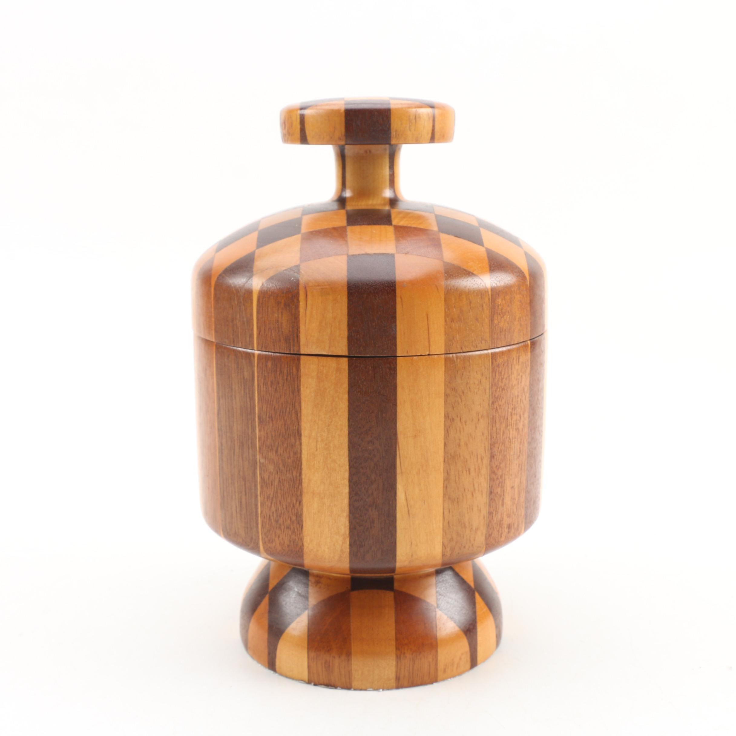 Handcrafted Inlaid Covered Wood Jar