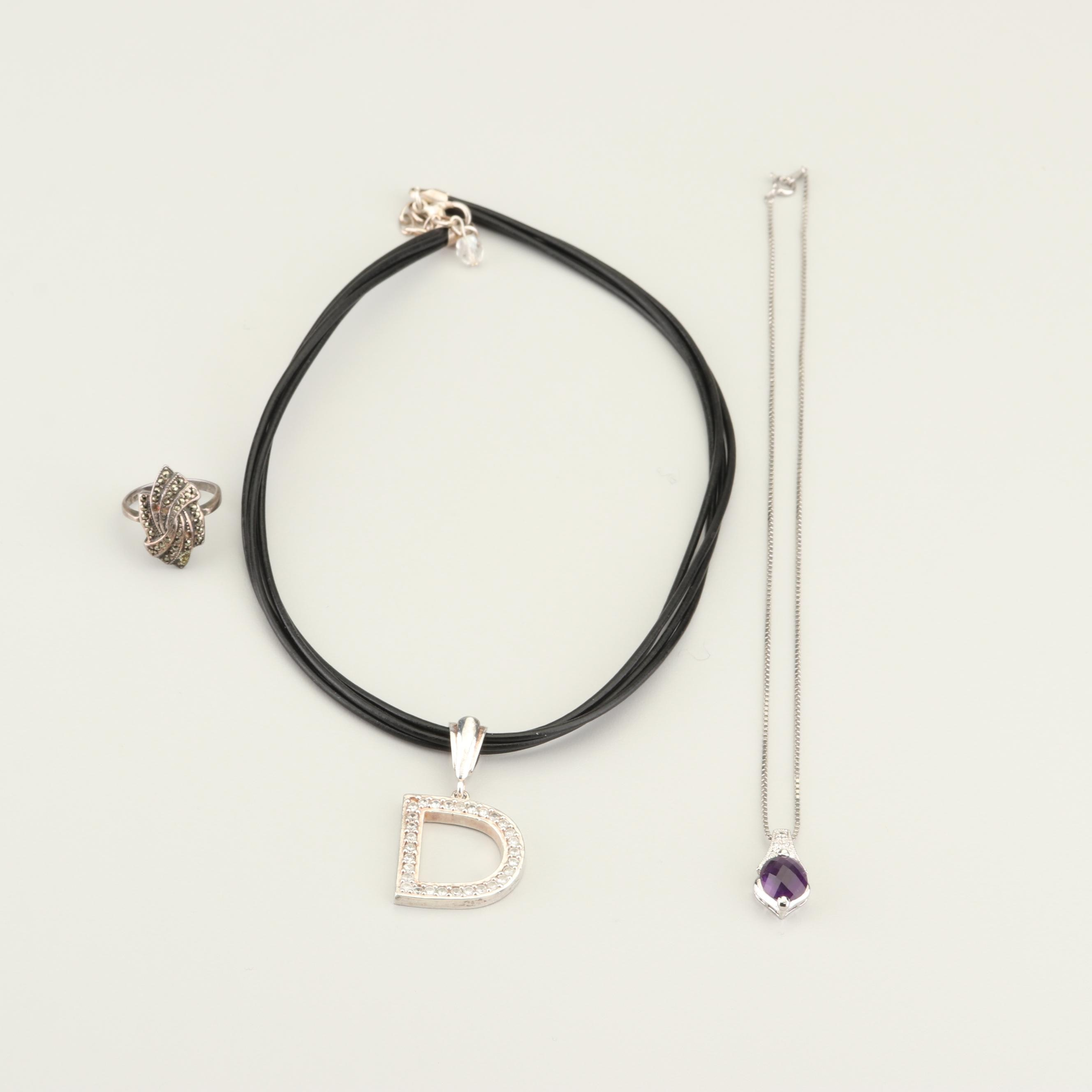 Sterling Silver Gemstone and Glass Jewelry