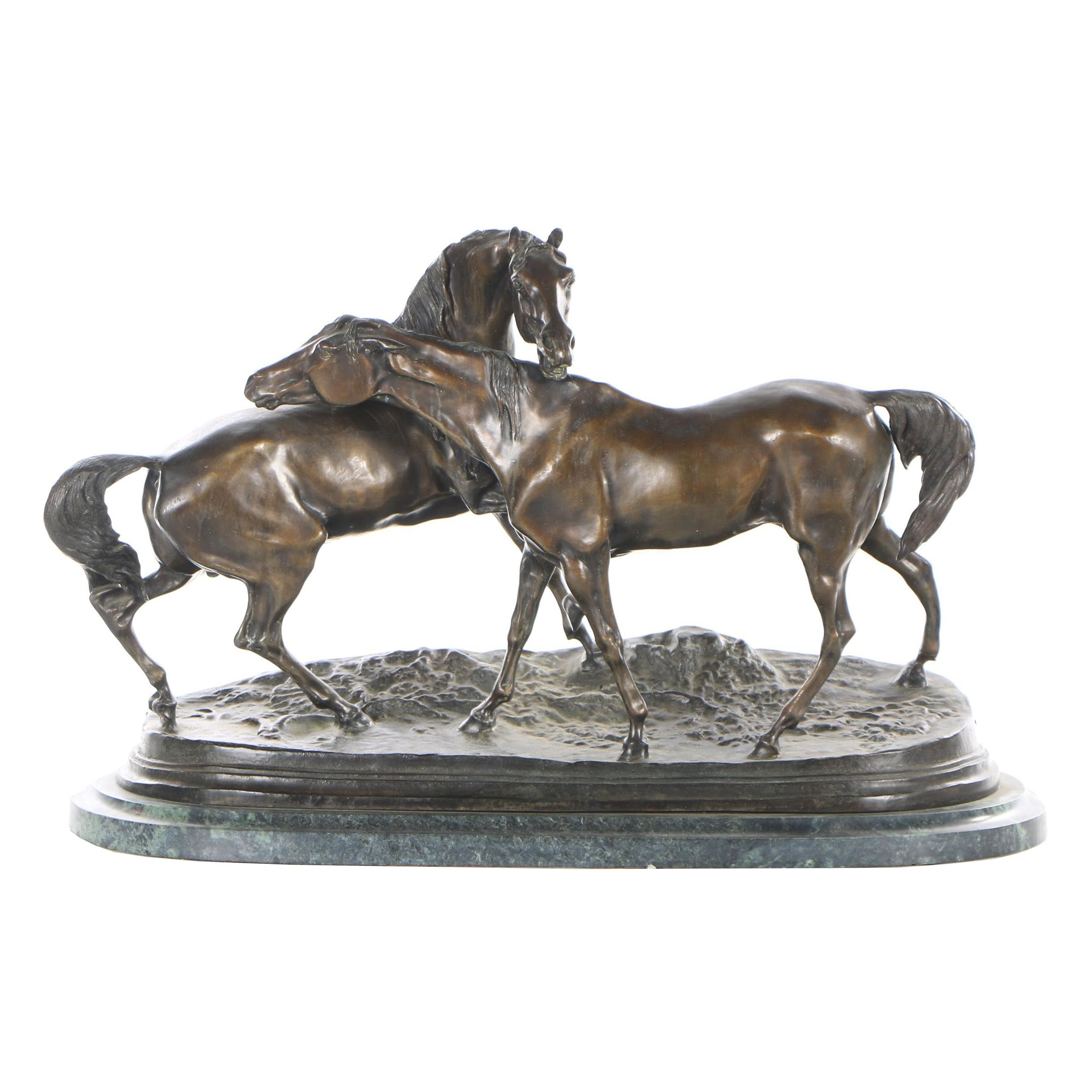 "Bronze Sculpture after Pierre-Jules Mêne ""L'Accolade"""