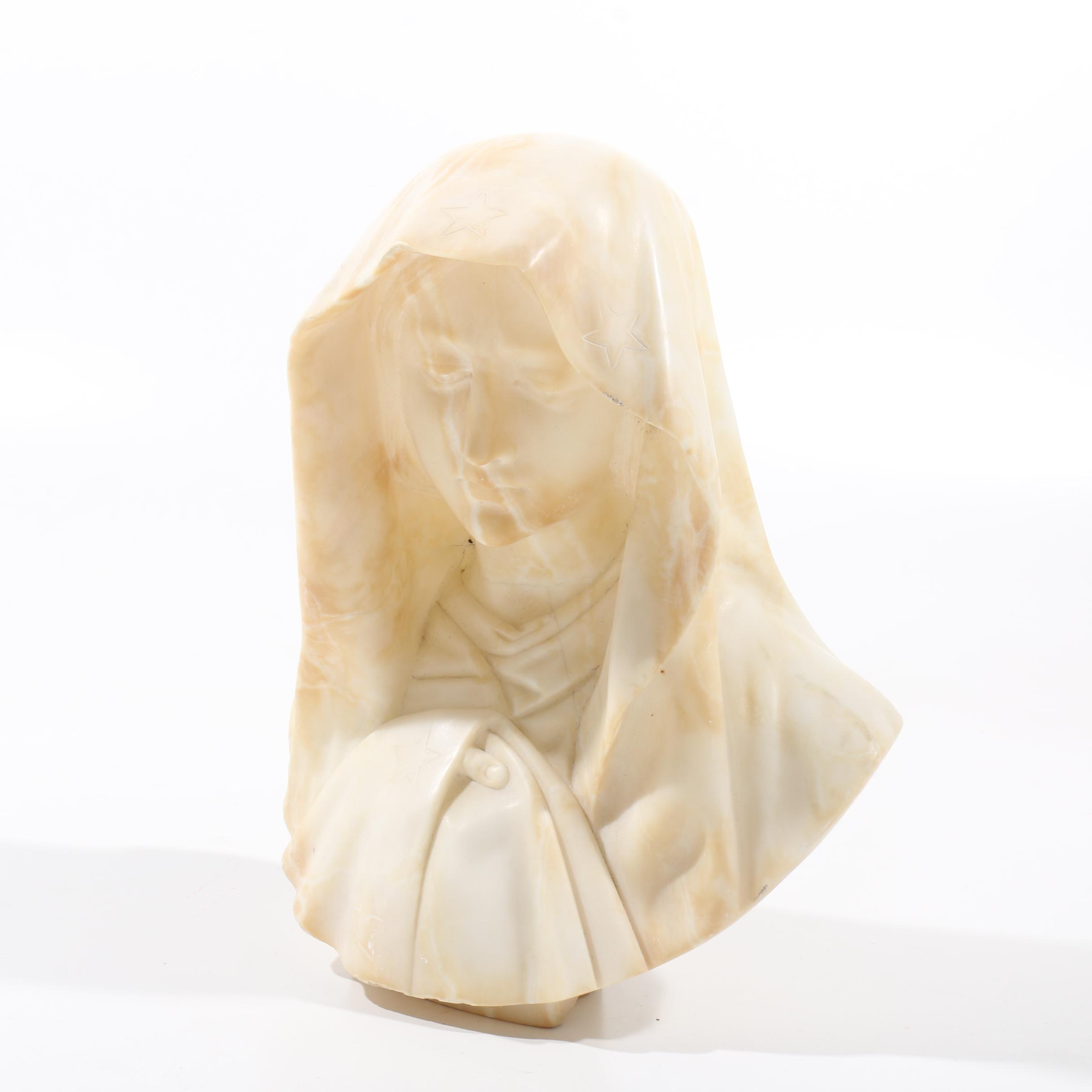 Carved Alabaster Bust of Virgin Mary