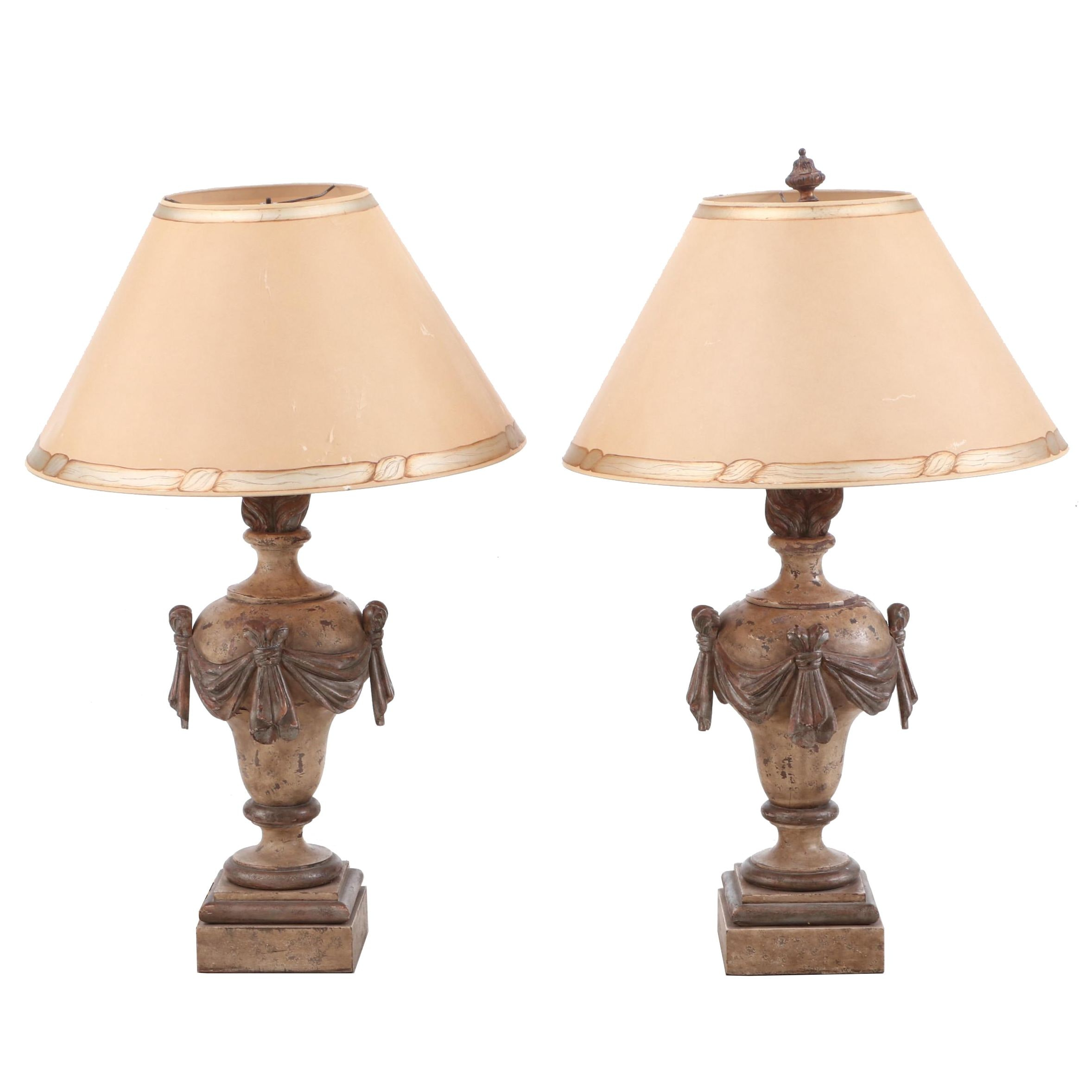 Urn and Swag Style Ceramic Table Lamps