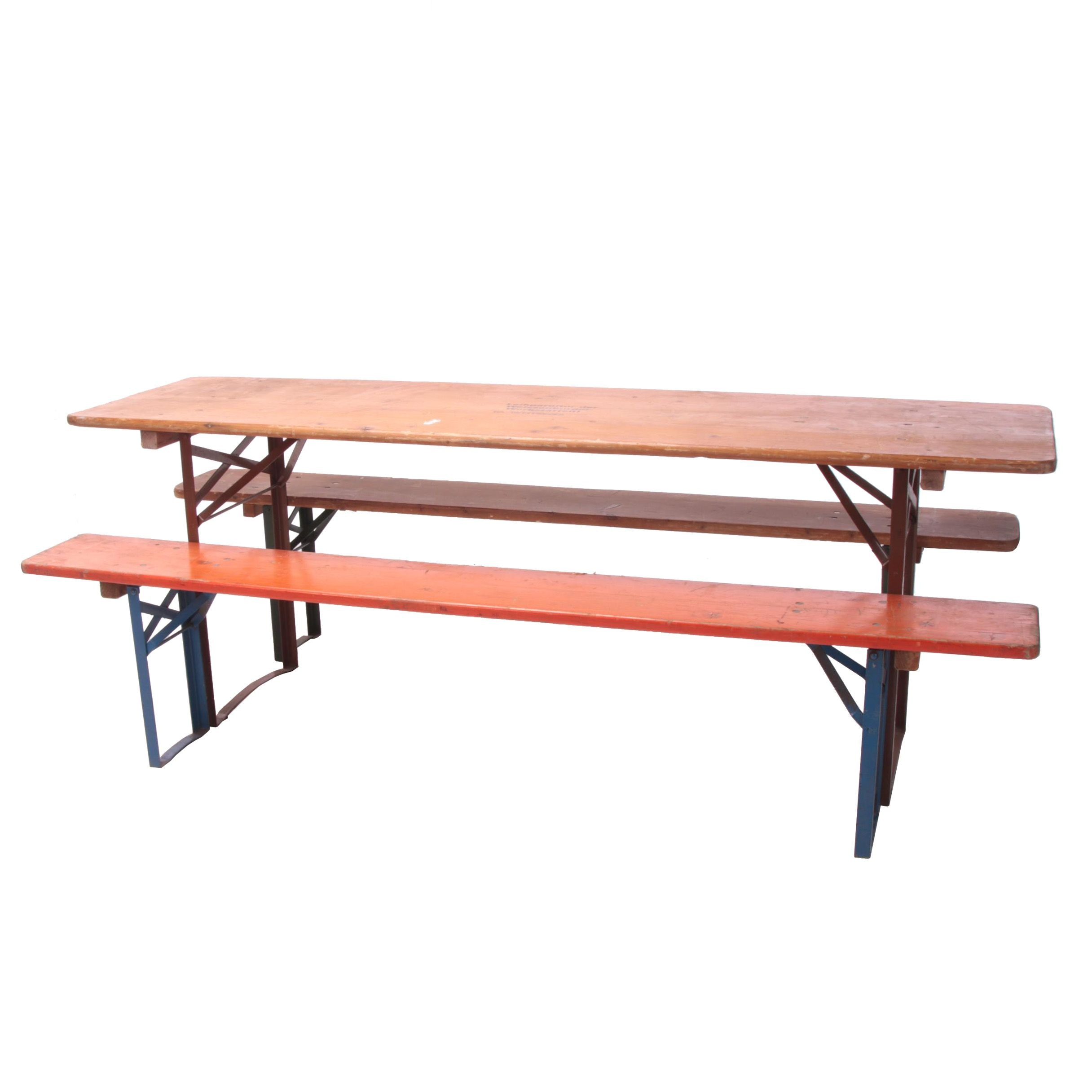 German Beirgarten Wooden Folding Table and Benches, Late 20th Century