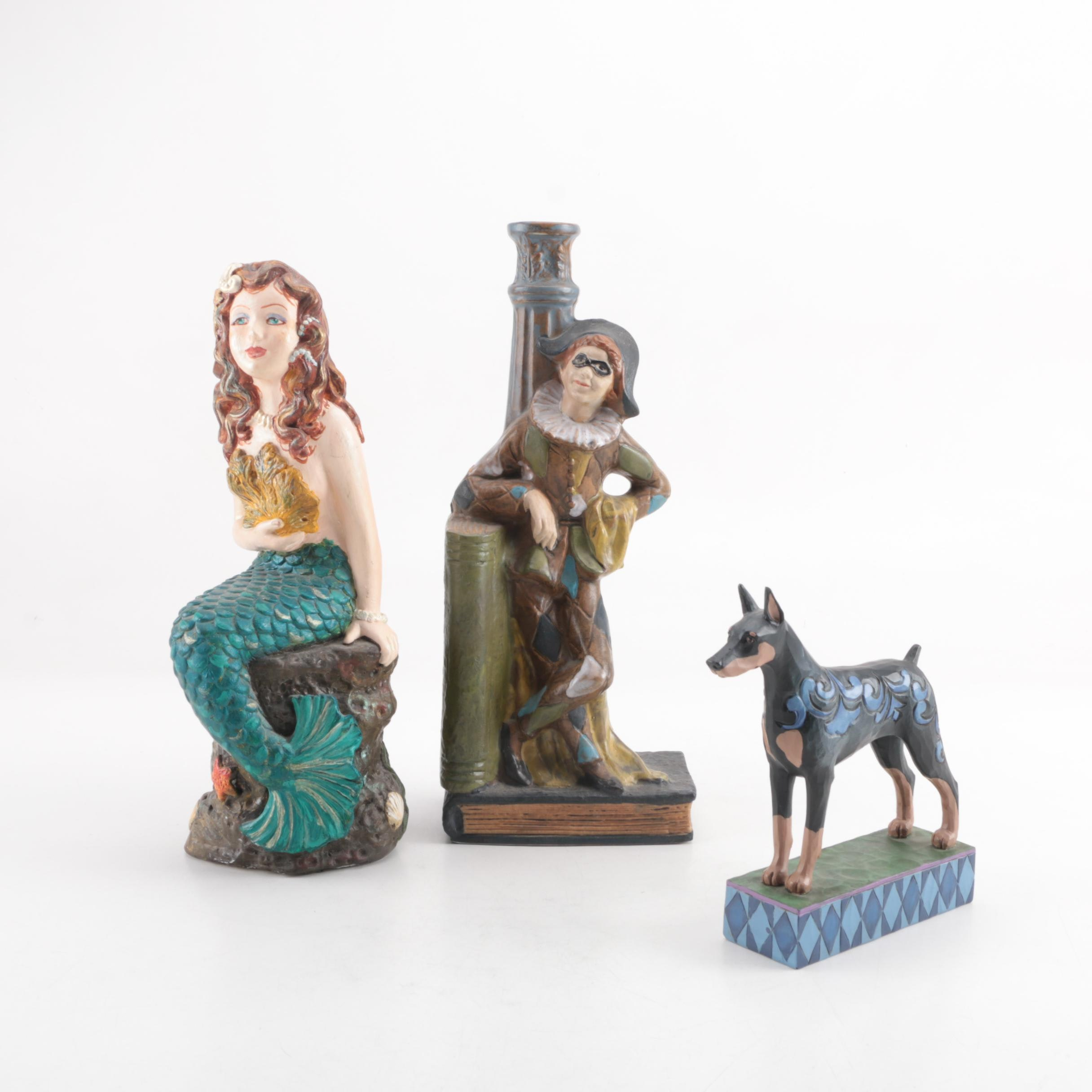 Ceramic Figurines and Jester Figural Candle Holder Featuring Jim Shore
