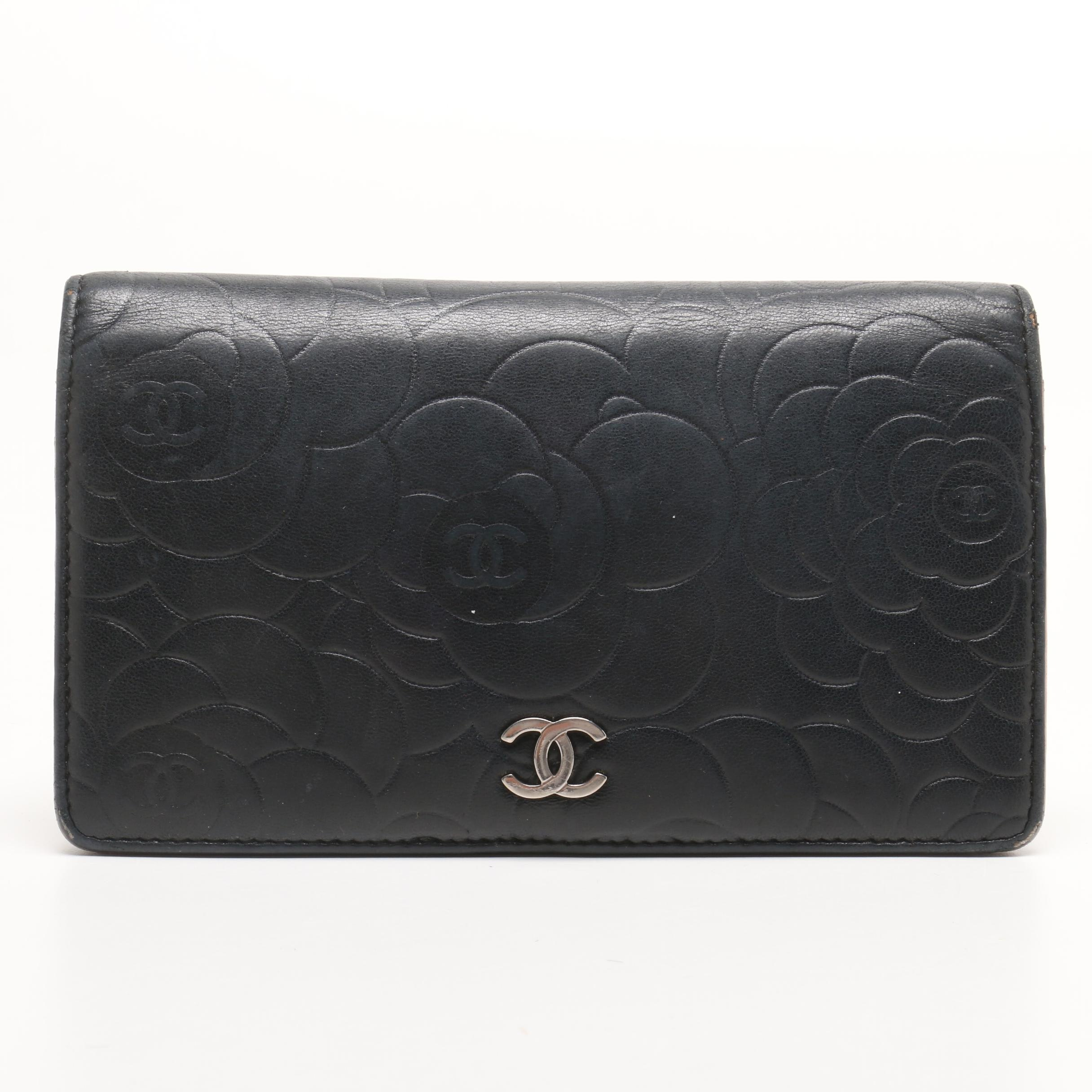 Chanel Black Floral Embossed Lambskin Leather Bifold Wallet with Blush Lining