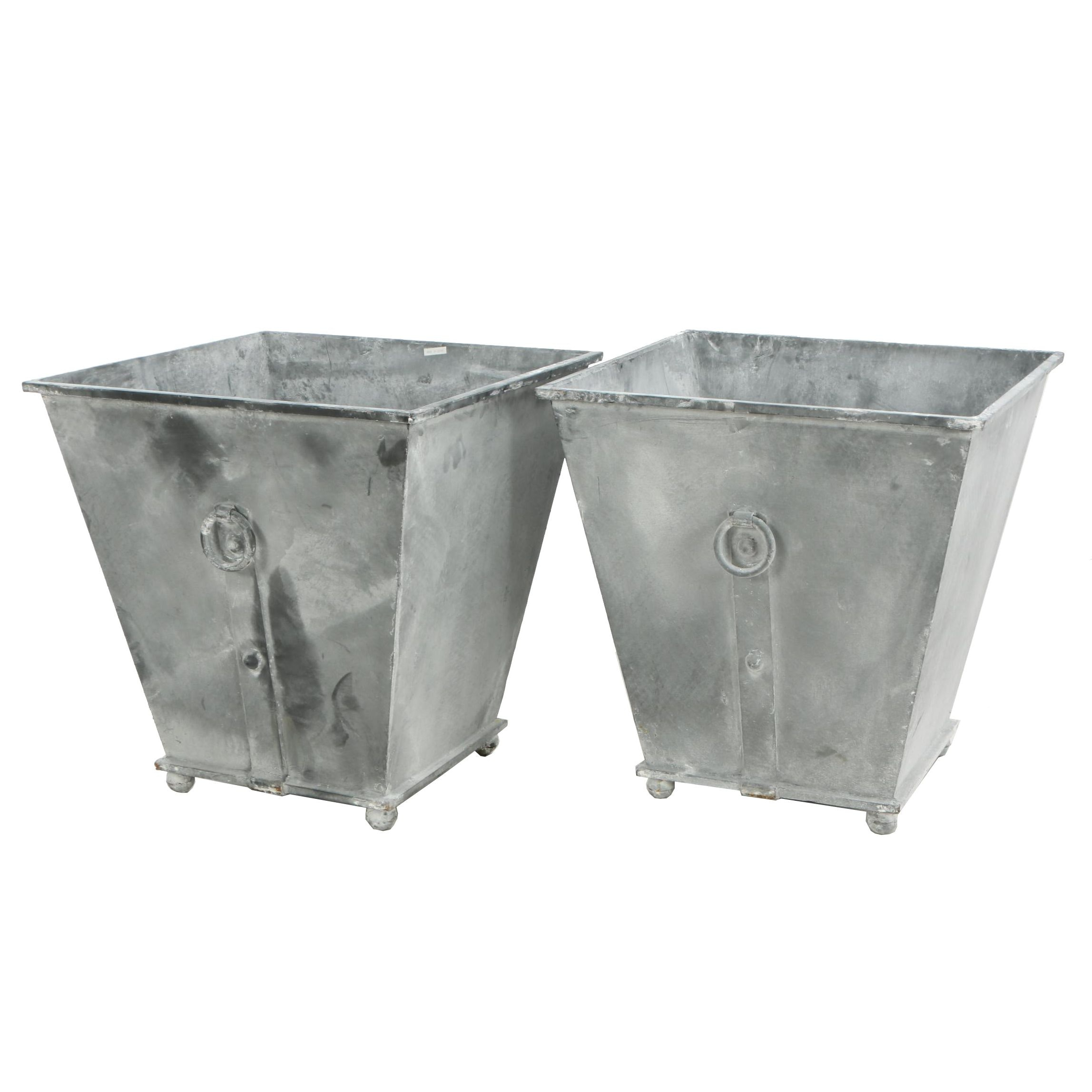 """Pair of French Provincial Style """"Provence"""" Cast Metal Planter"""