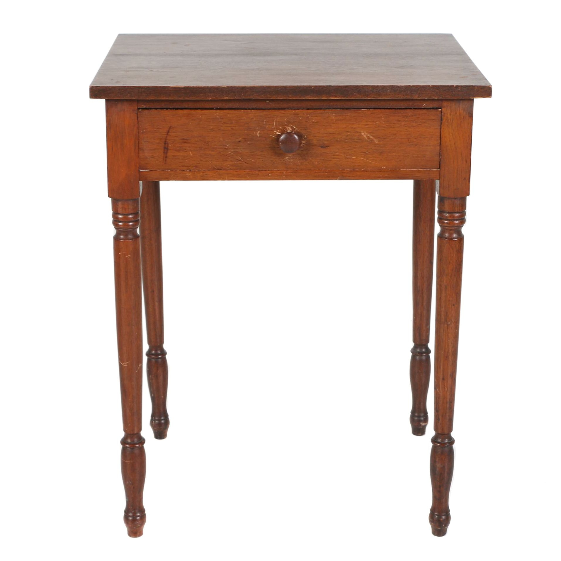 American Walnut One-Drawer Side Table, 19th Century