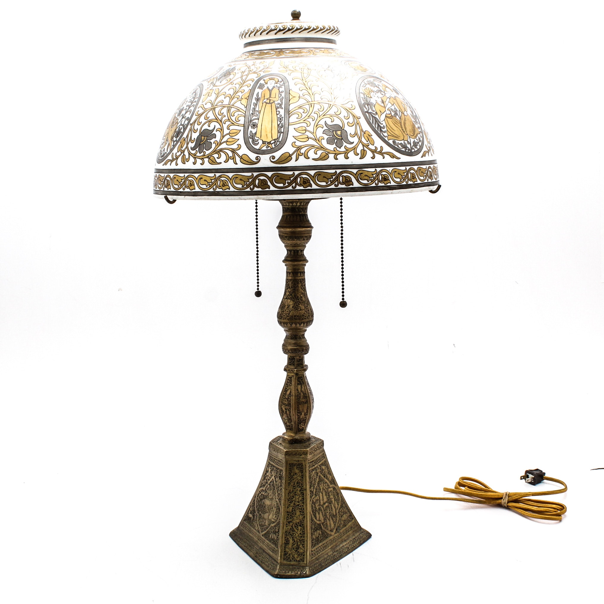 Cast Brass Lamp with Hand-Painted Persian Style Milk Glass Shade