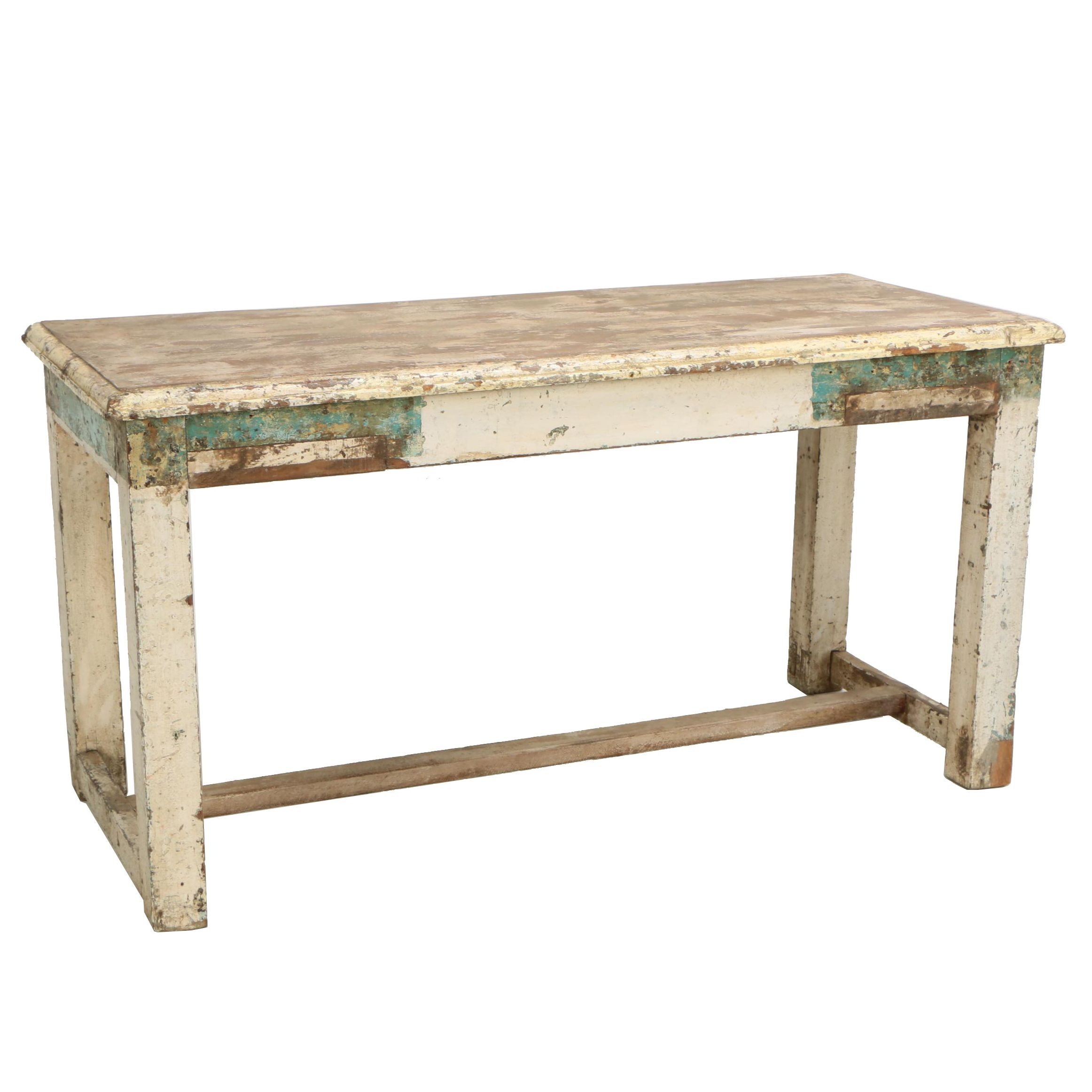 Continental Painted Pine Work Table, Mid-Century