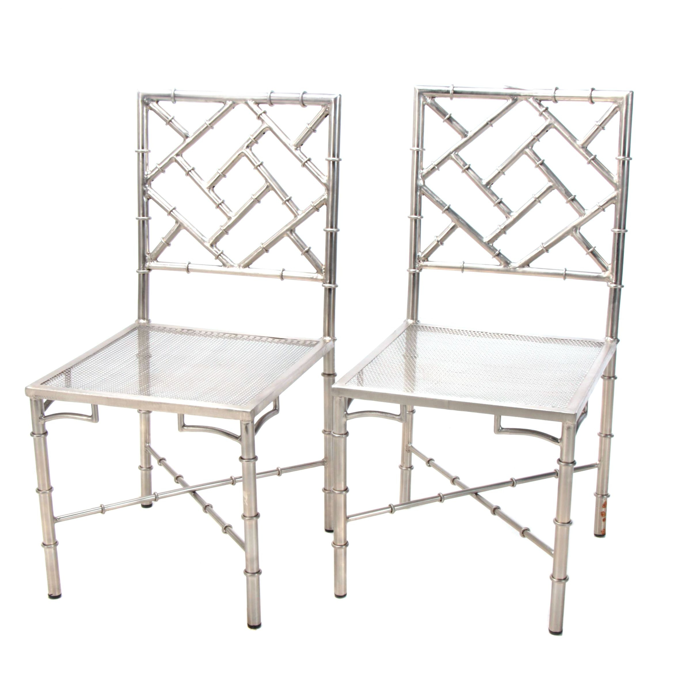 """Chinese Chippendale Style """"Bamboo"""" Silver Tone Metal Side Chairs"""
