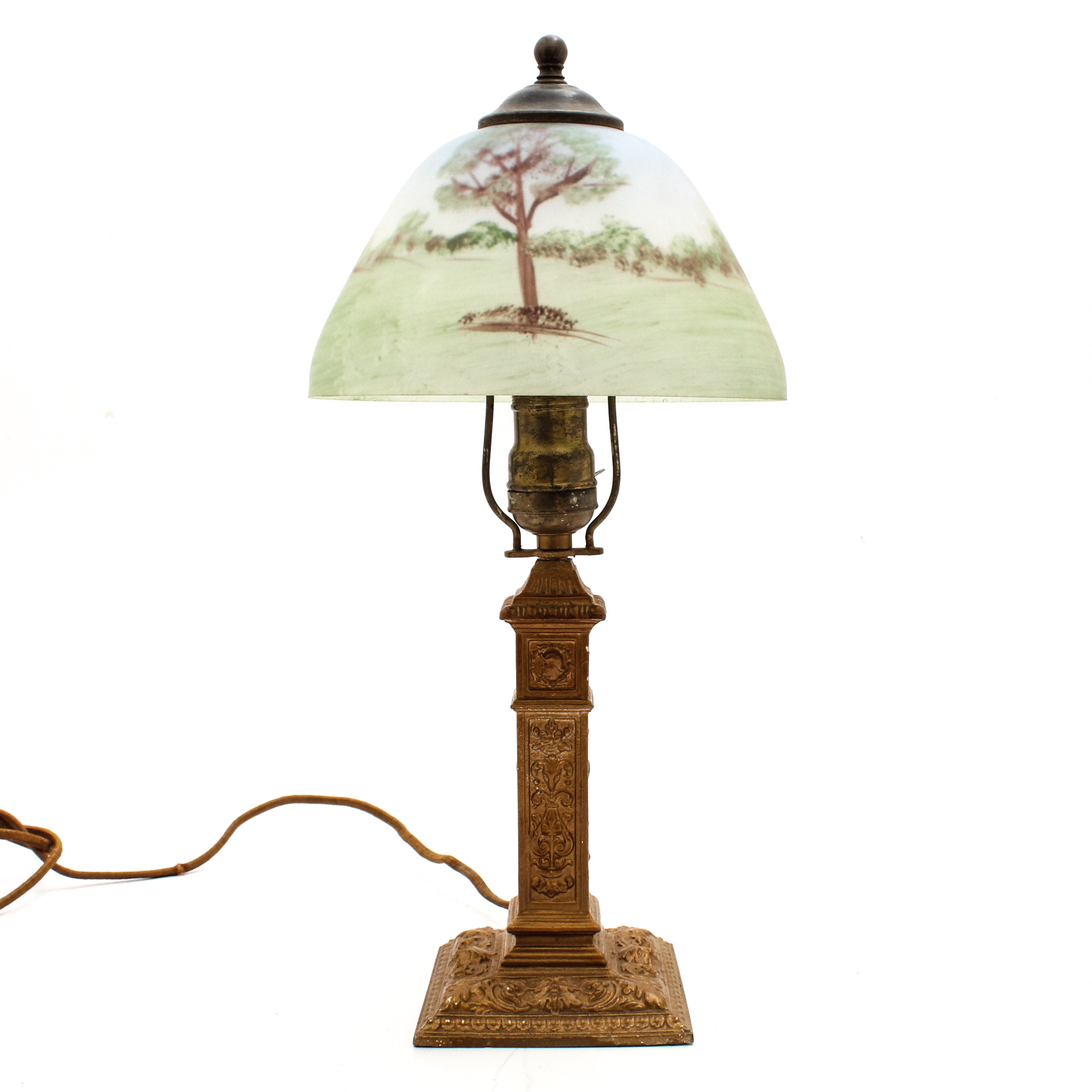 Art Metal Works Art Deco Dresser Lamp with Reverse Painted Shade, Early 20th C