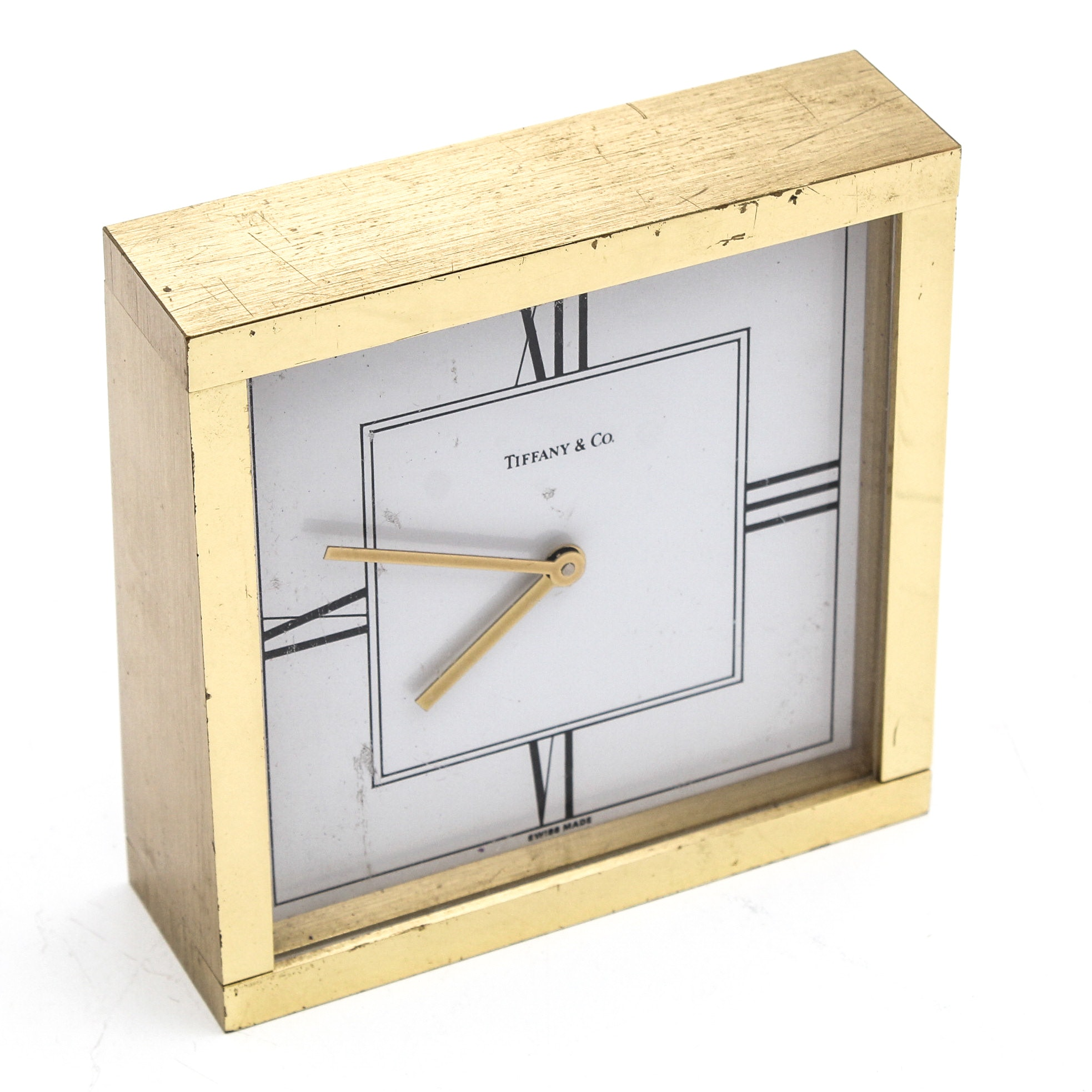 Tiffany & Co. Brass Swiss Quartz Desk Clock