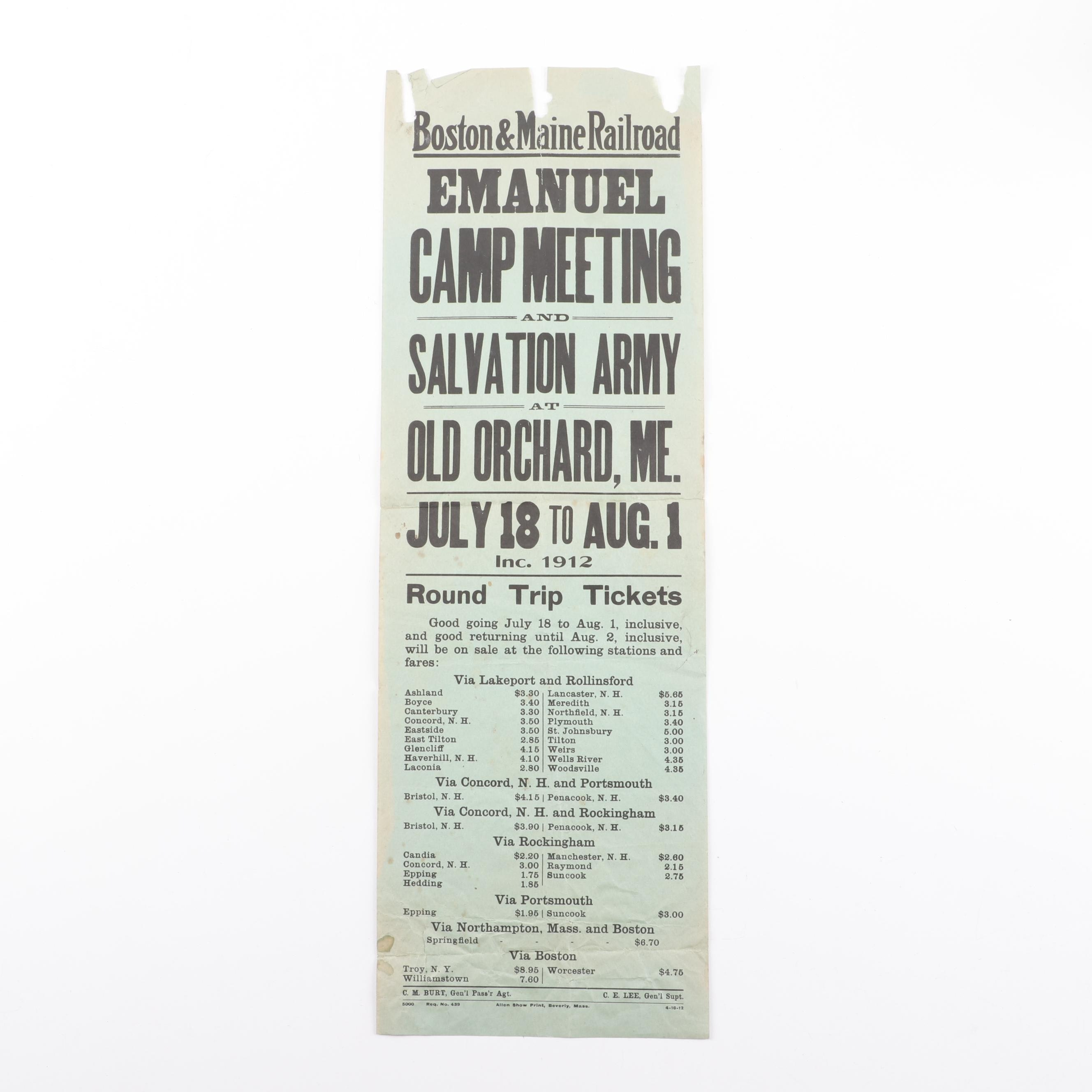 Boston & Maine Railroad Letterpress Advertisement Broadside