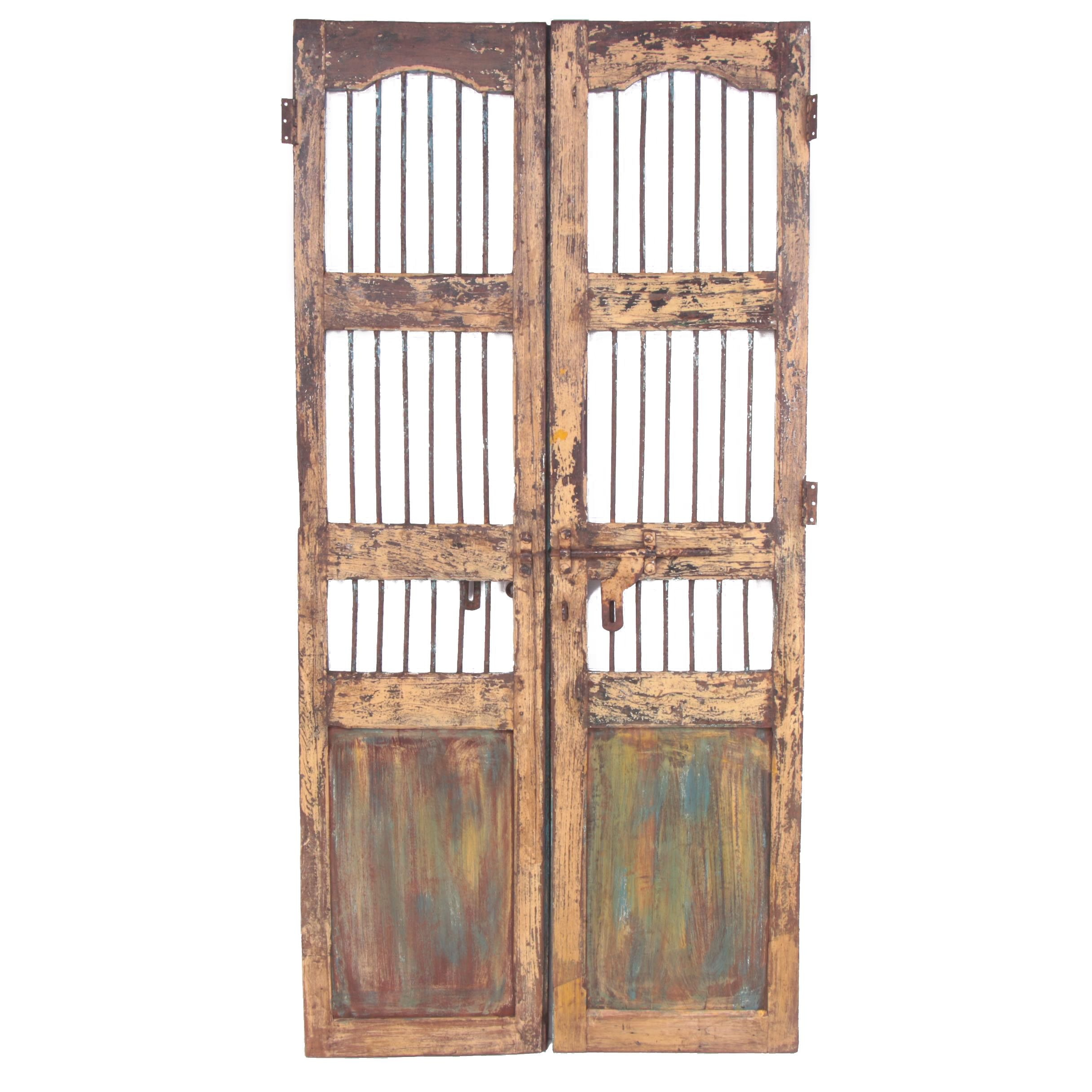 Reclaimed Indian Hardwood French Doors with Iron Security Bars, 20th Century