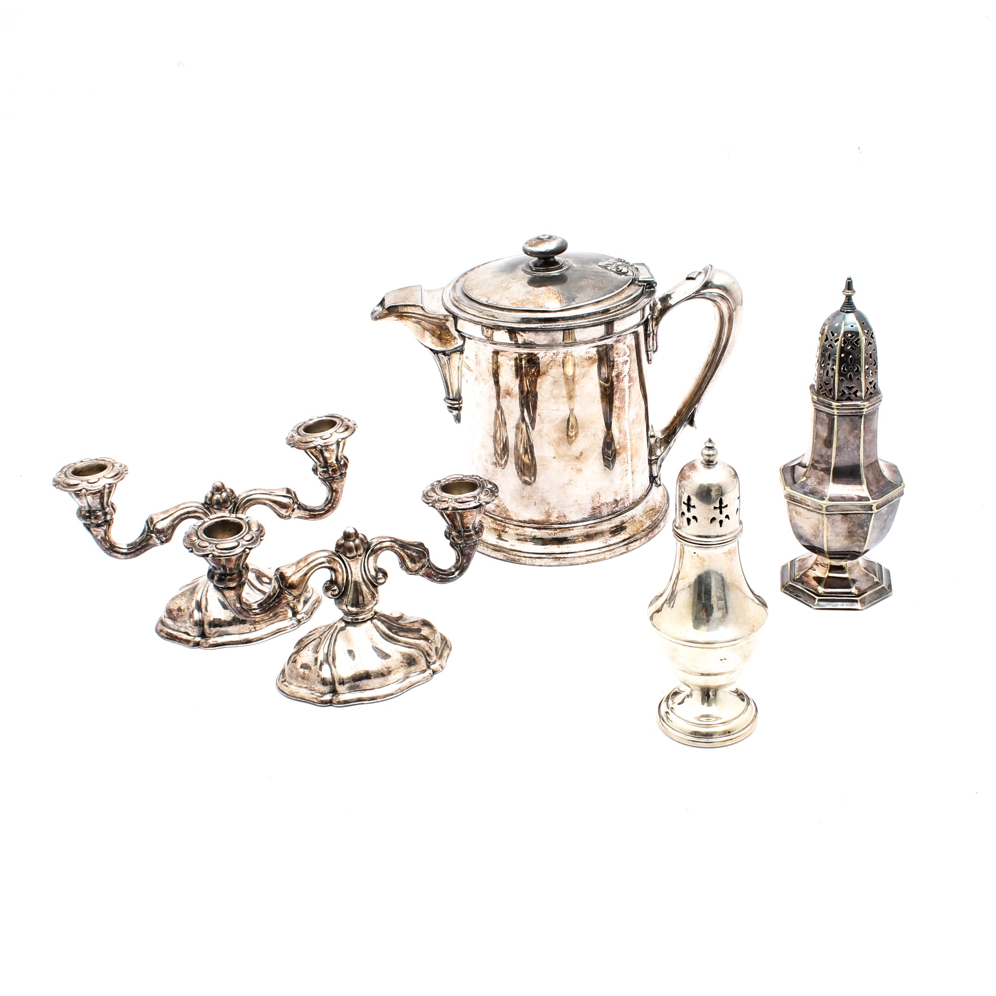 Silver Plate Muffineers, Enamel Lined Pitcher and Candle Holders