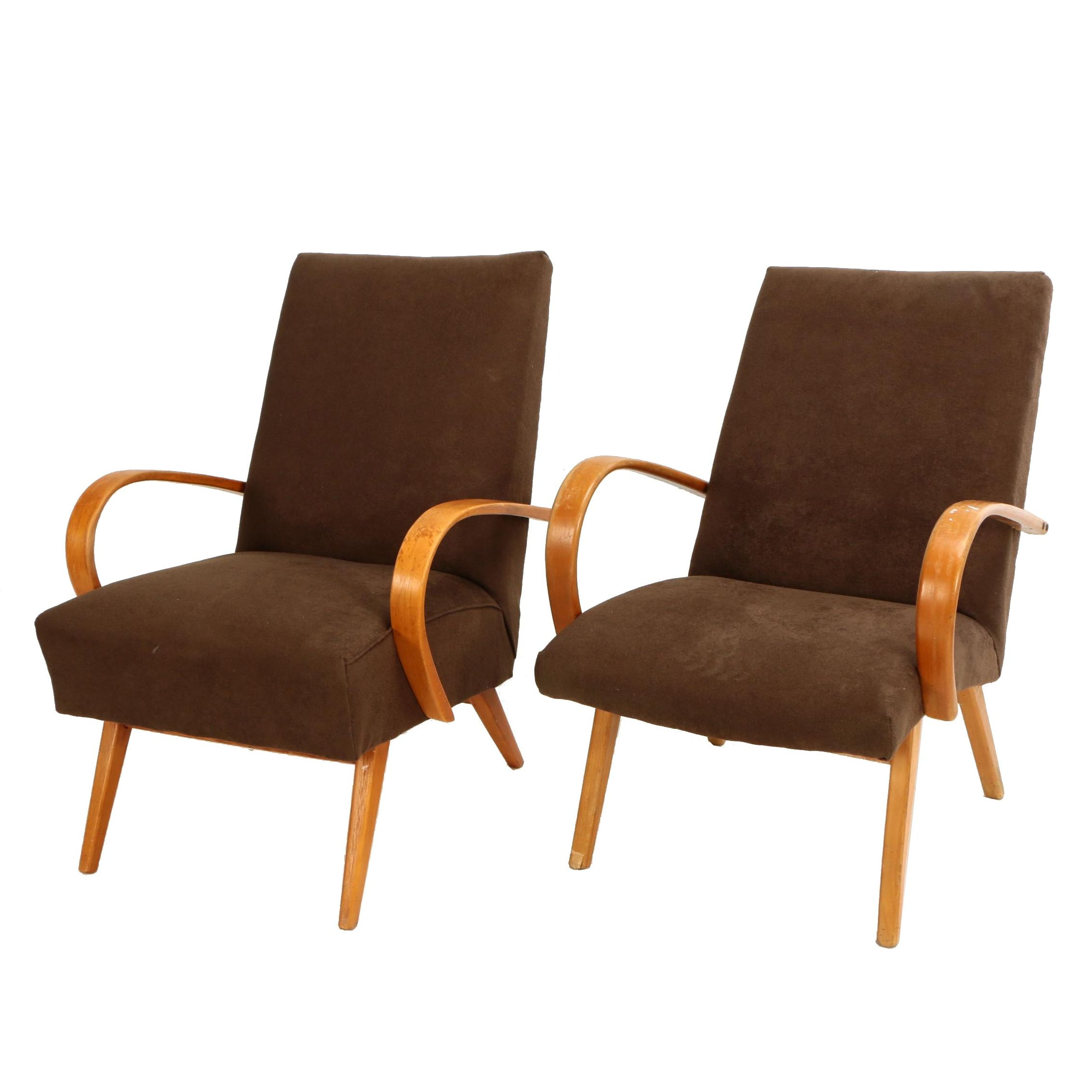 Czech Modern Bentwood Lounge Chairs, 20th Century