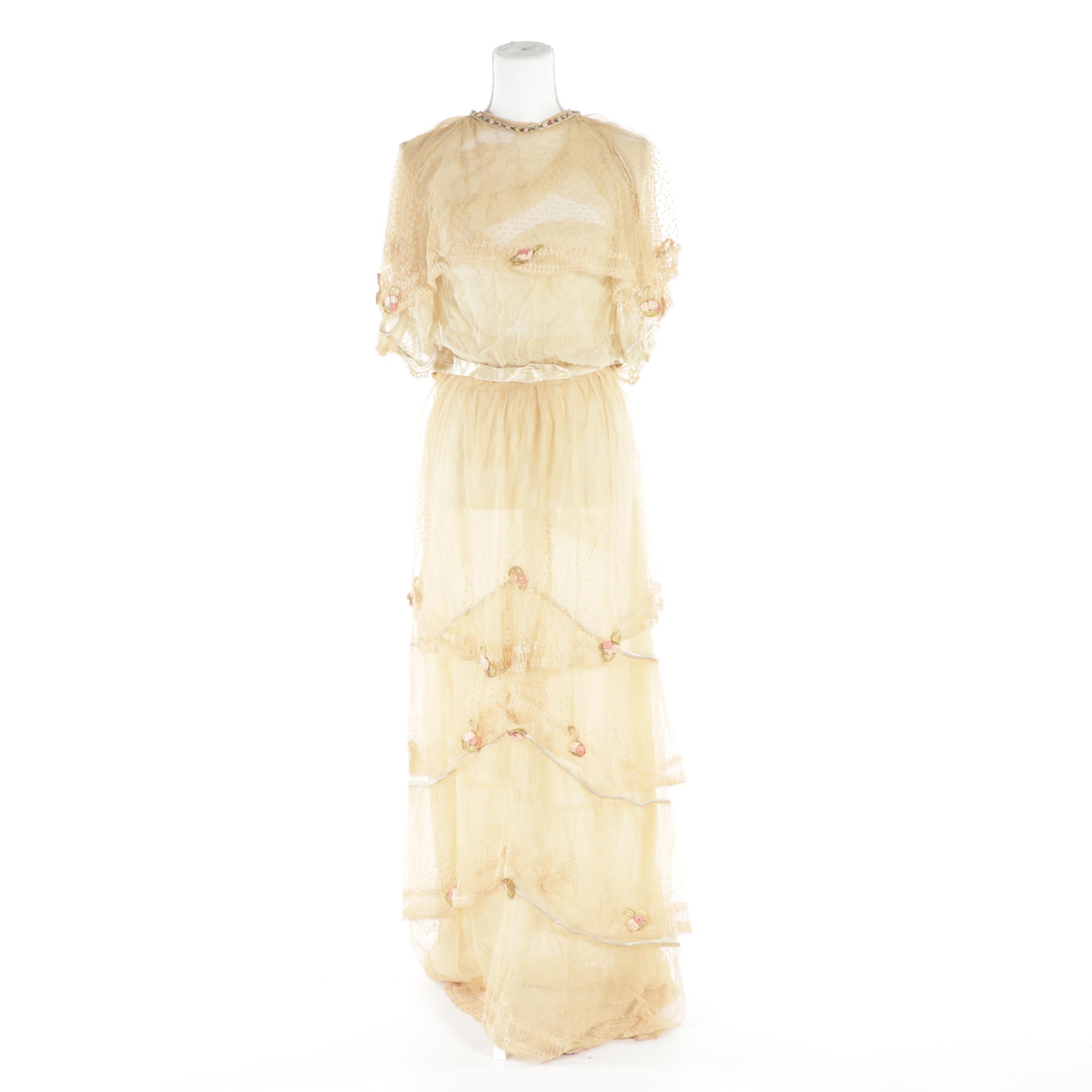 Edwardian Two-Piece Dress in Ivory with Lace Overlay and Ribbon Flowers, Vintage