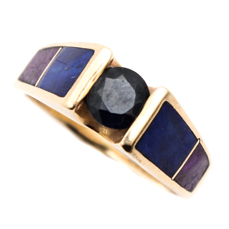 14K Yellow Gold Sapphire, Lapis, Sugalite, and Diamond Ring