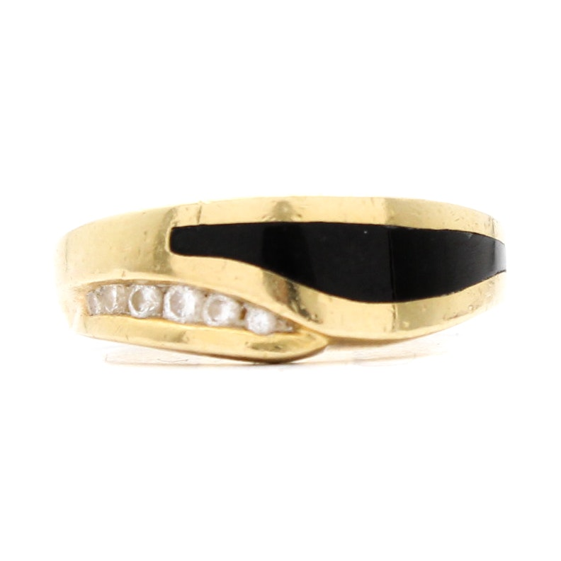 18K Yellow Gold, Black Coral and Diamond Ring