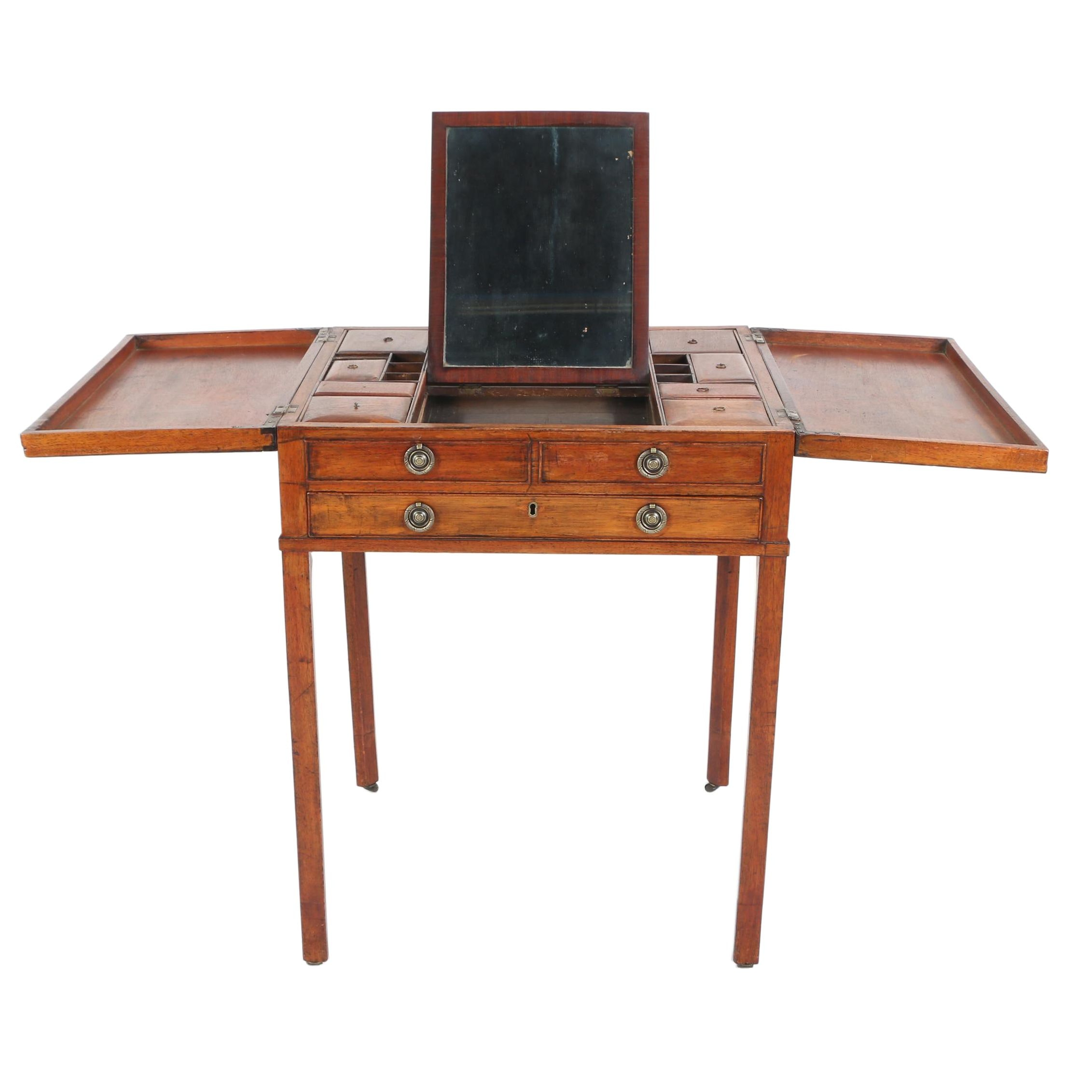 George III Mahogany Enclosed Dressing Table, Early 19th Century