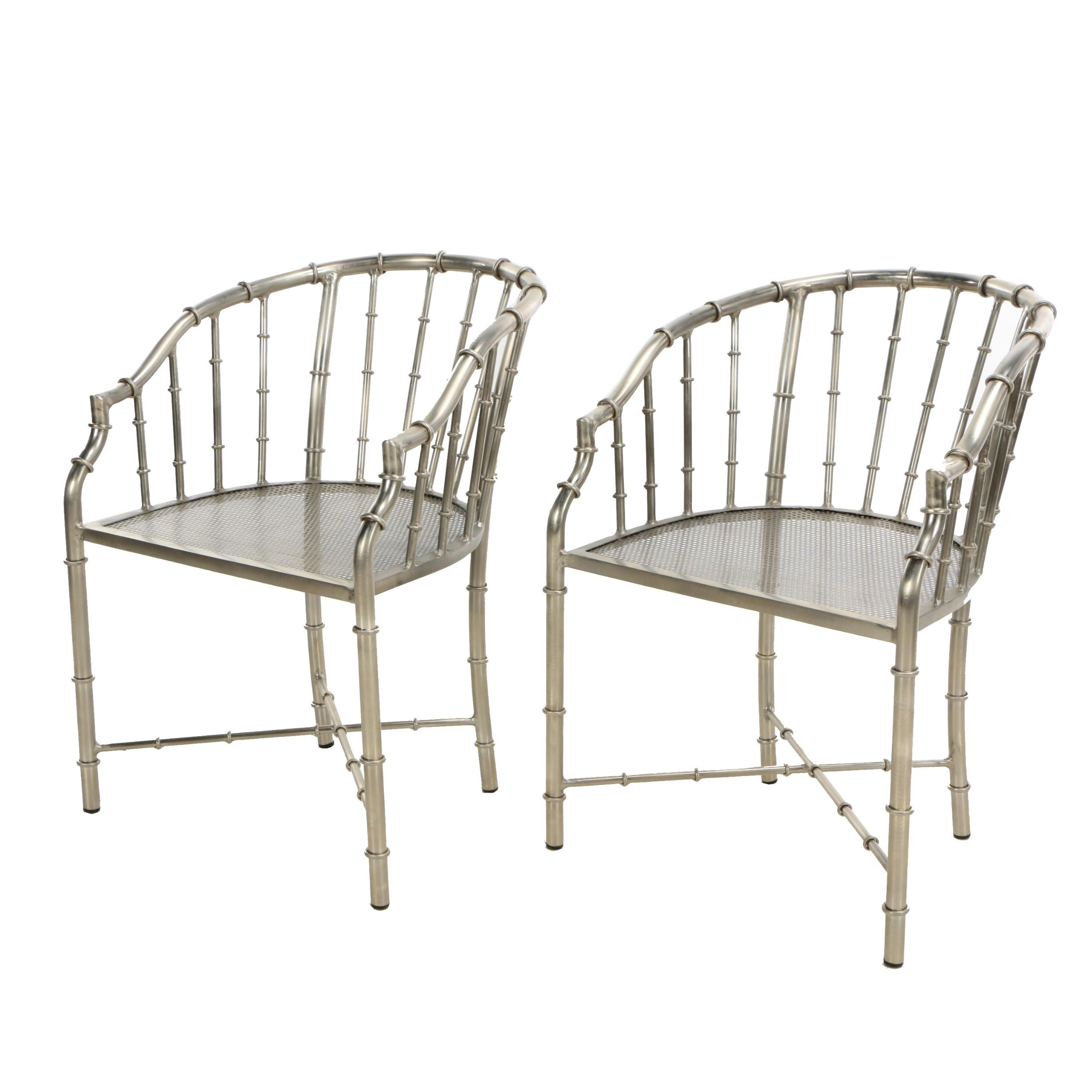 "Chinese Chippendale Style ""Bamboo"" Silver Tone Metal Armchairs, 21st Century"