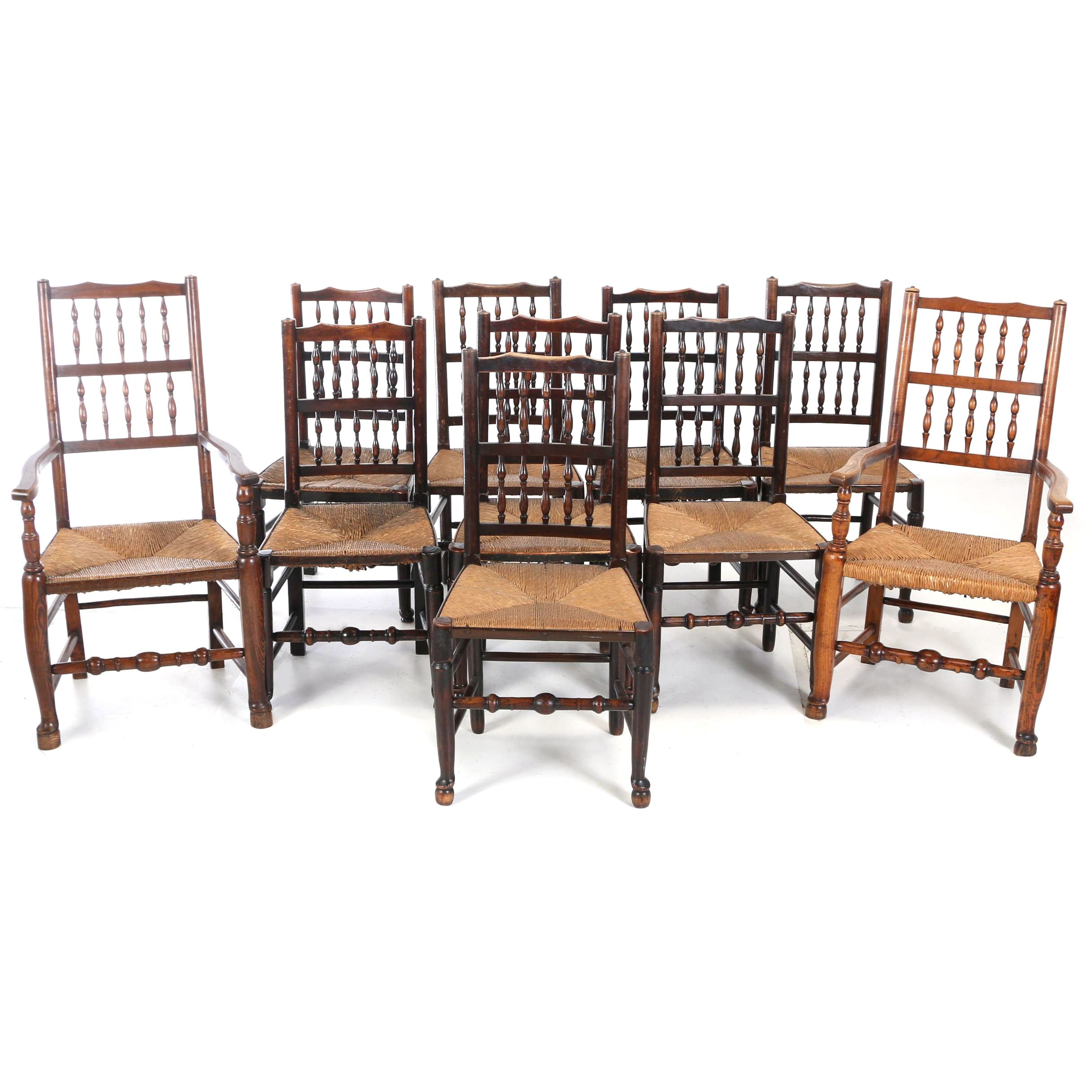 Matched Set of Ten Lancashire Elm, Oak, and Walnut Dining Chairs, 19th Century