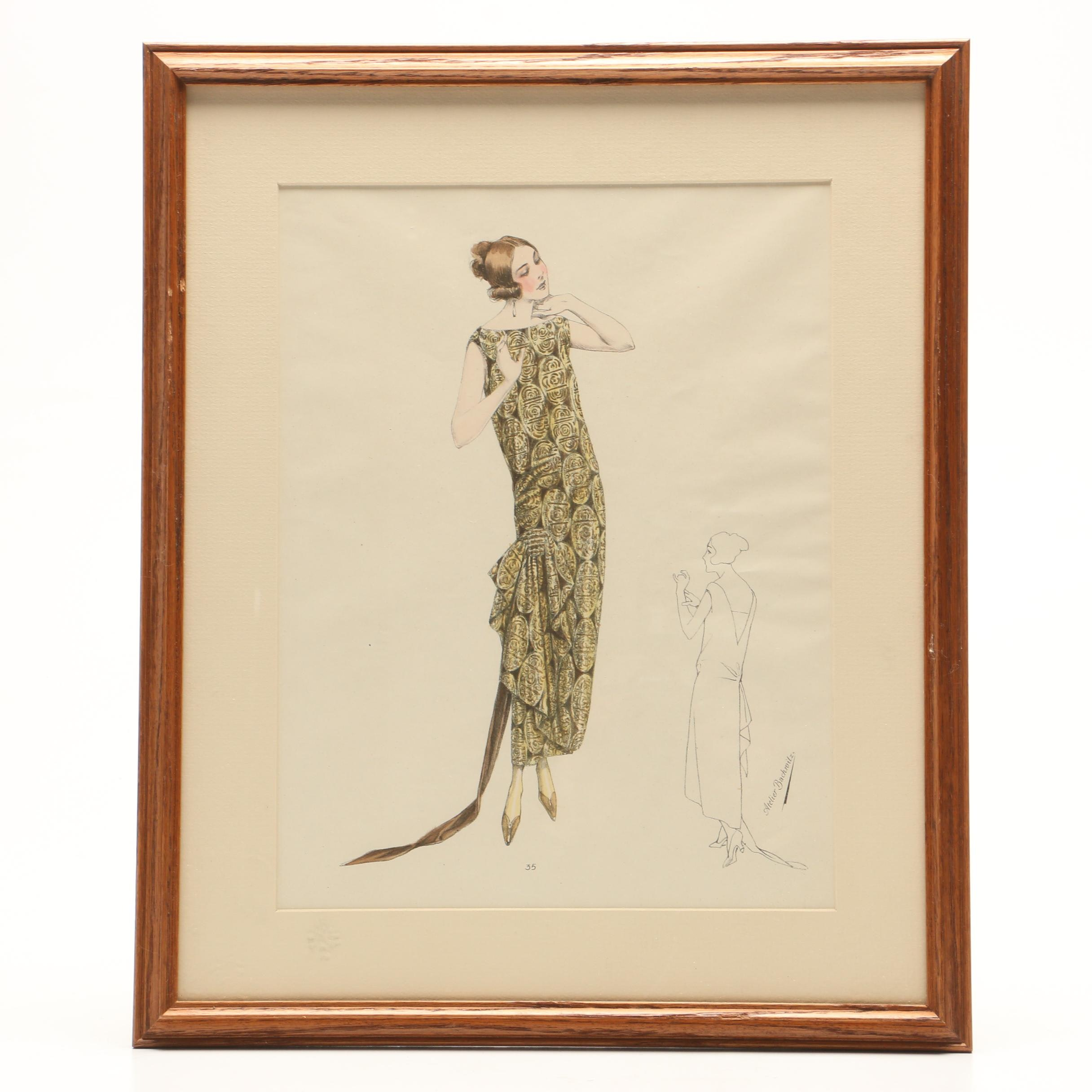 "Atelier Bachwitz Lithograph Page from ""Classic French Fashions of the Twenties"""