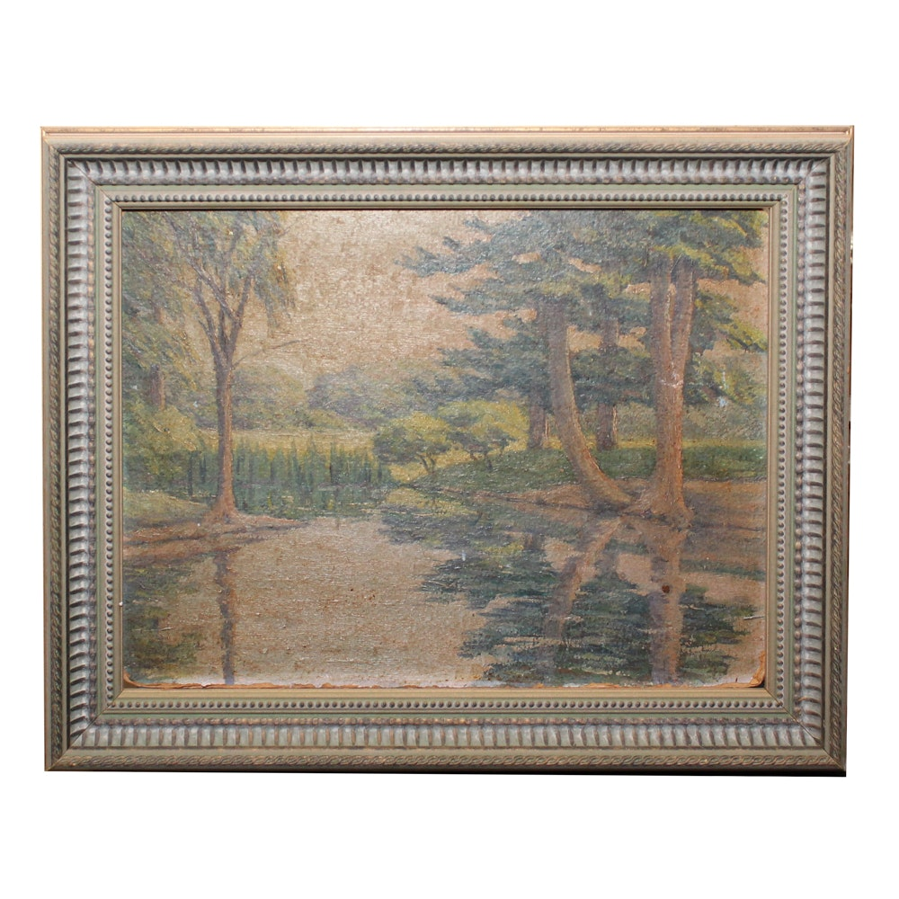 Oil Painting of Wooded Landscape