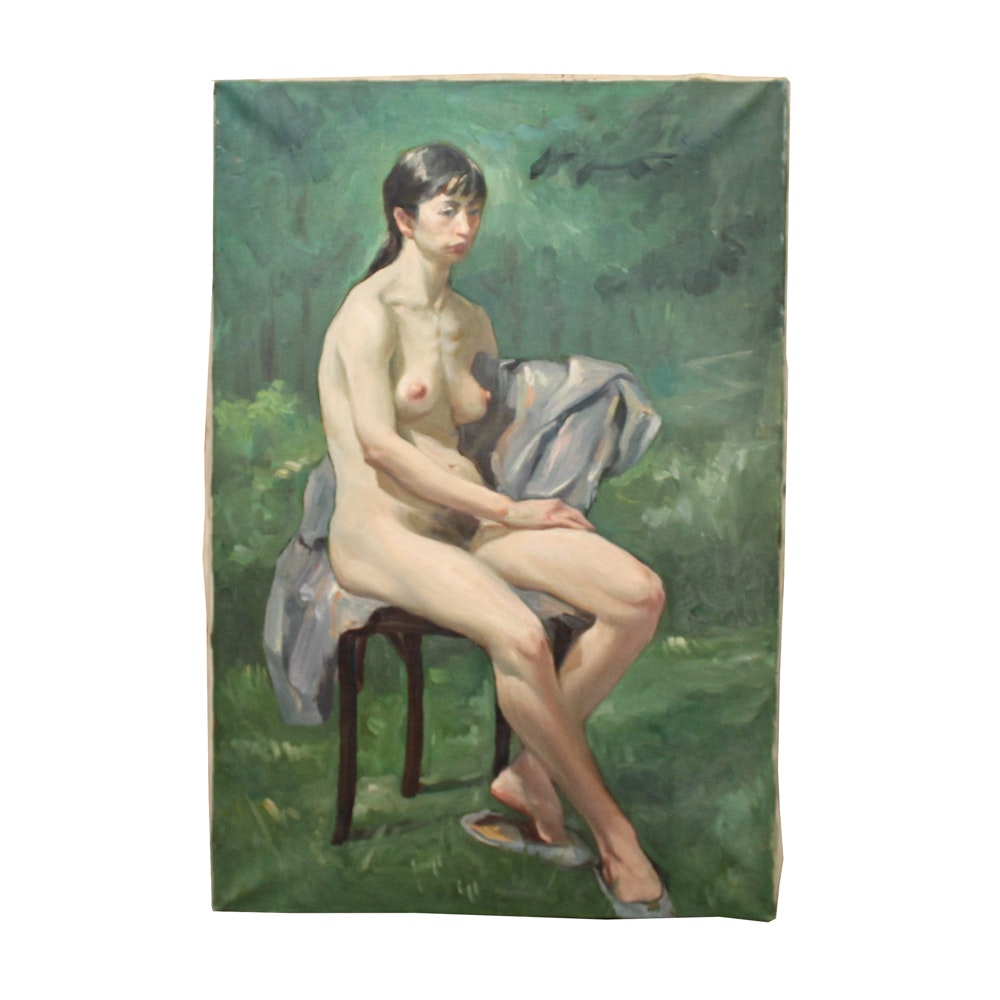 Chuck Wong Oil Painting of Female Nude