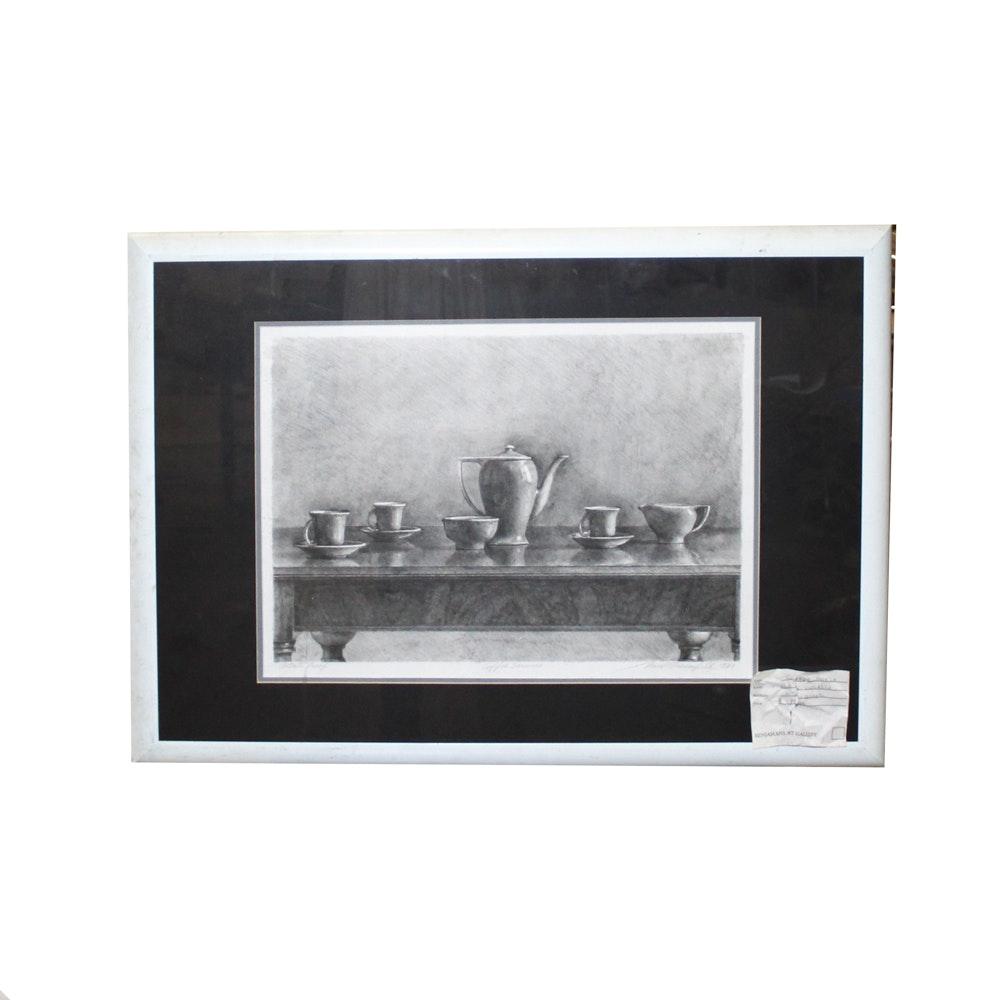 "Paul Wiesenfeld Lithograph ""Coffee Service"""