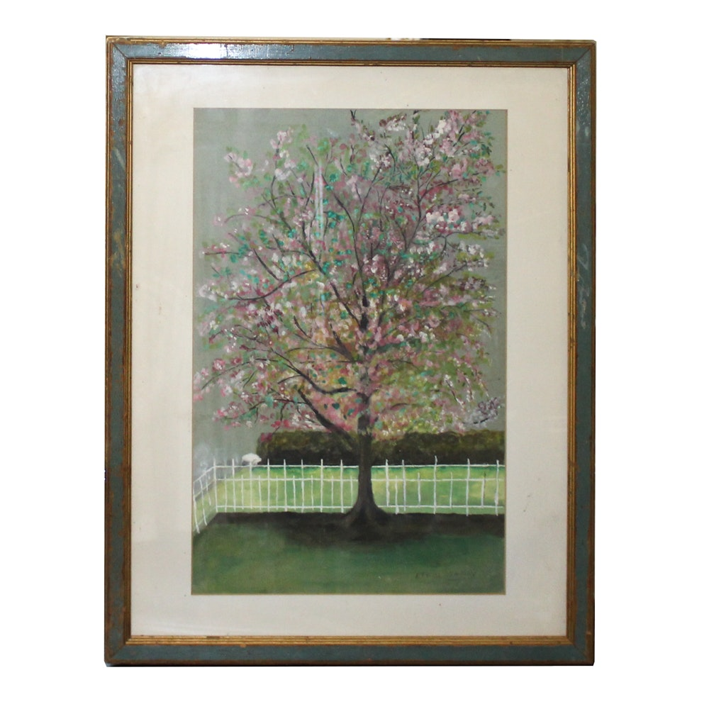 Ethel Sassoy Oil Painting of Blossoming Tree