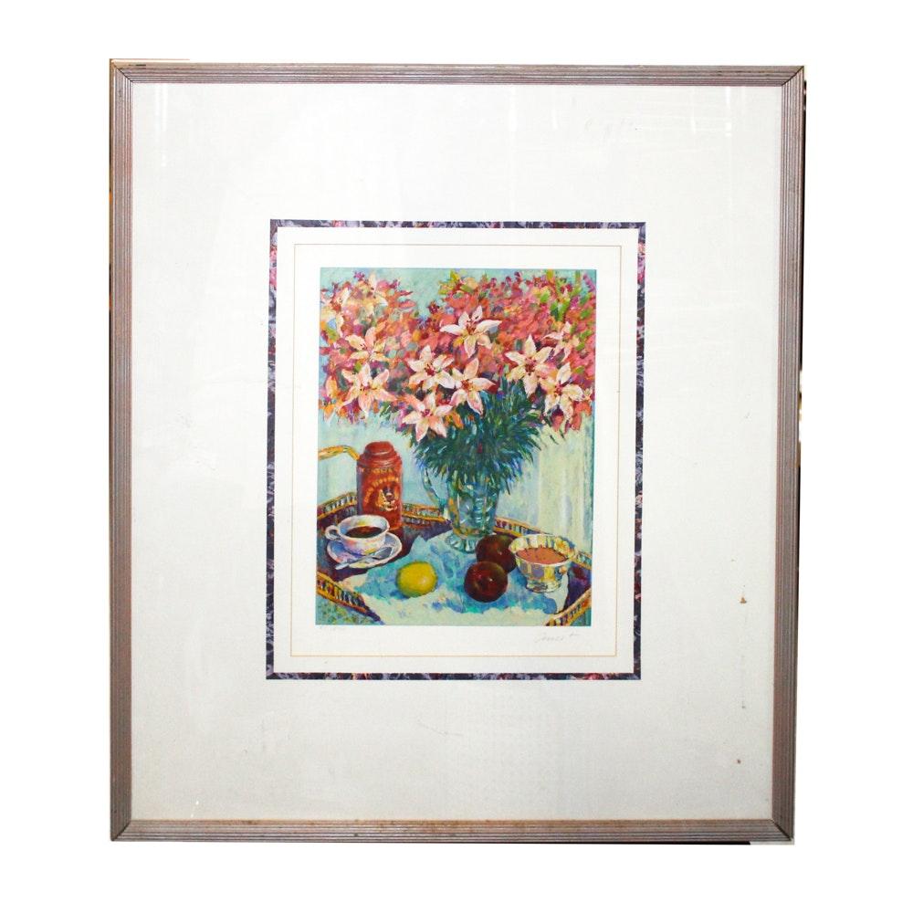 "Helen Anikst Lithograph ""Morning Lilies"""