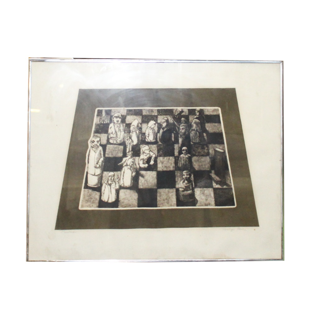 """Roslyn Rose Lithograph """"Pawns"""""""