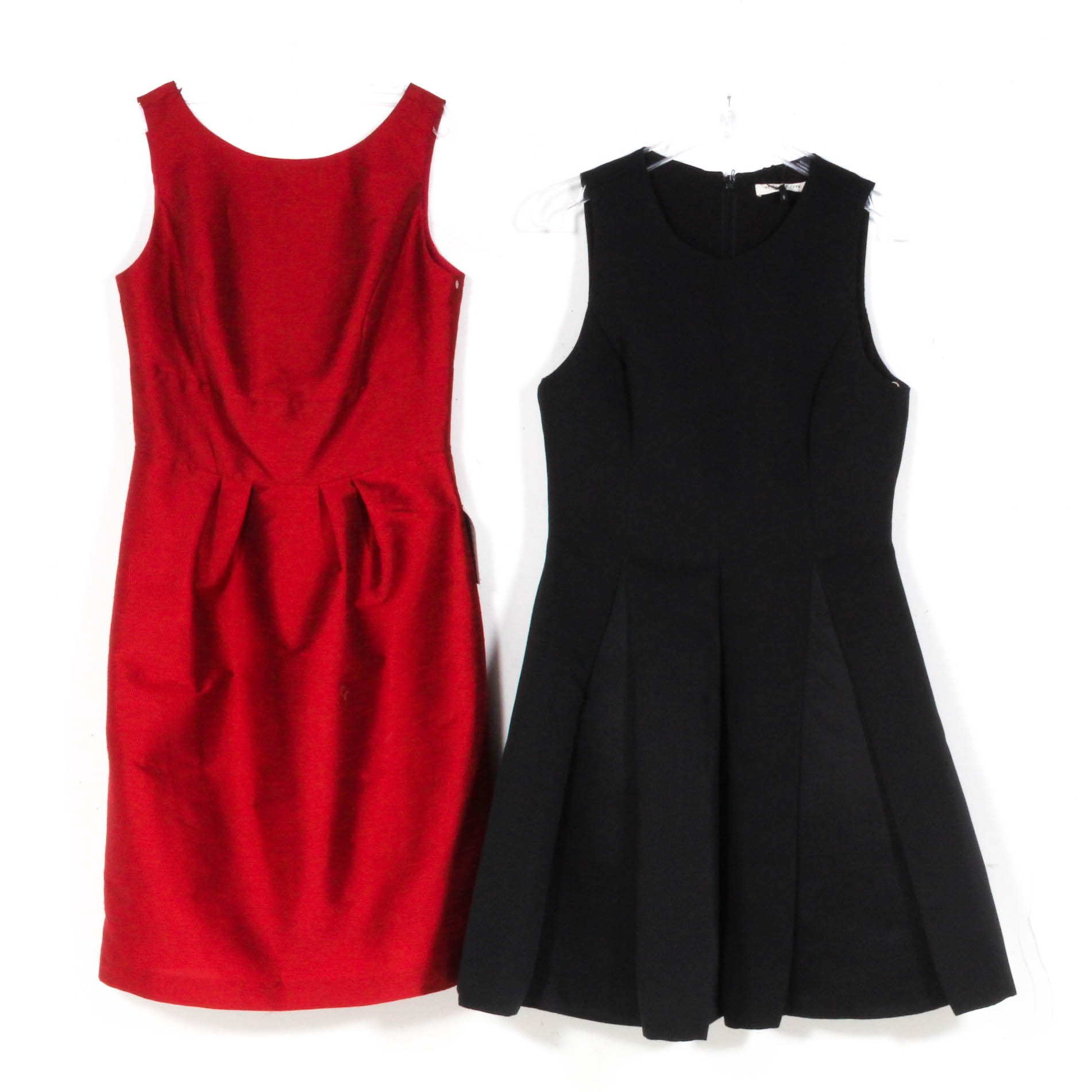 Halston Heritage Black and Alfred Sung Barcelona Red Sleeveless Cocktail Dresses